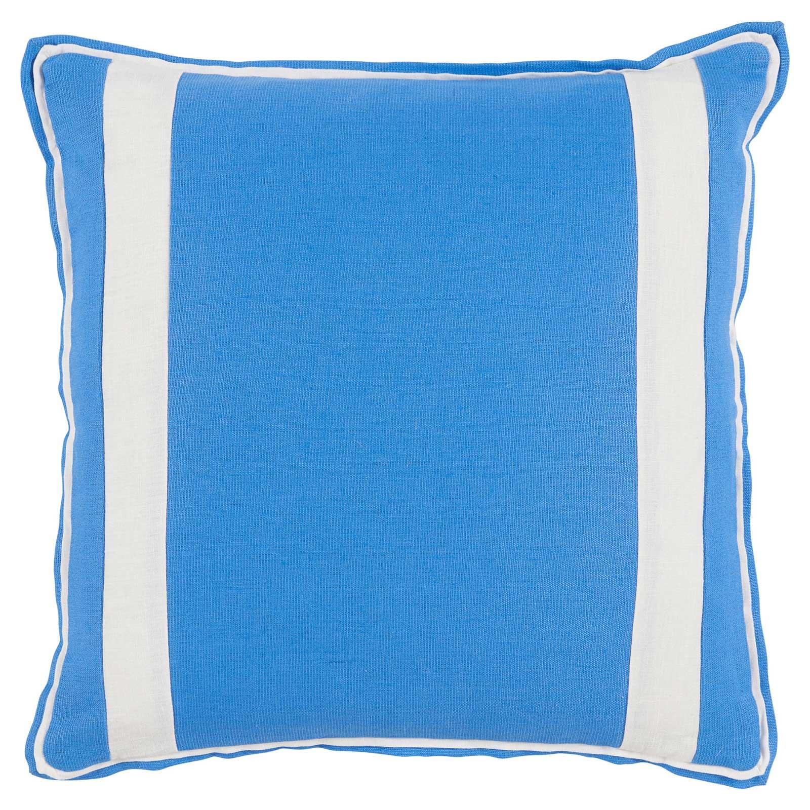 Bobbi Modern Classic Bold Stripe Bright Blue Linen Pillow - 20x20