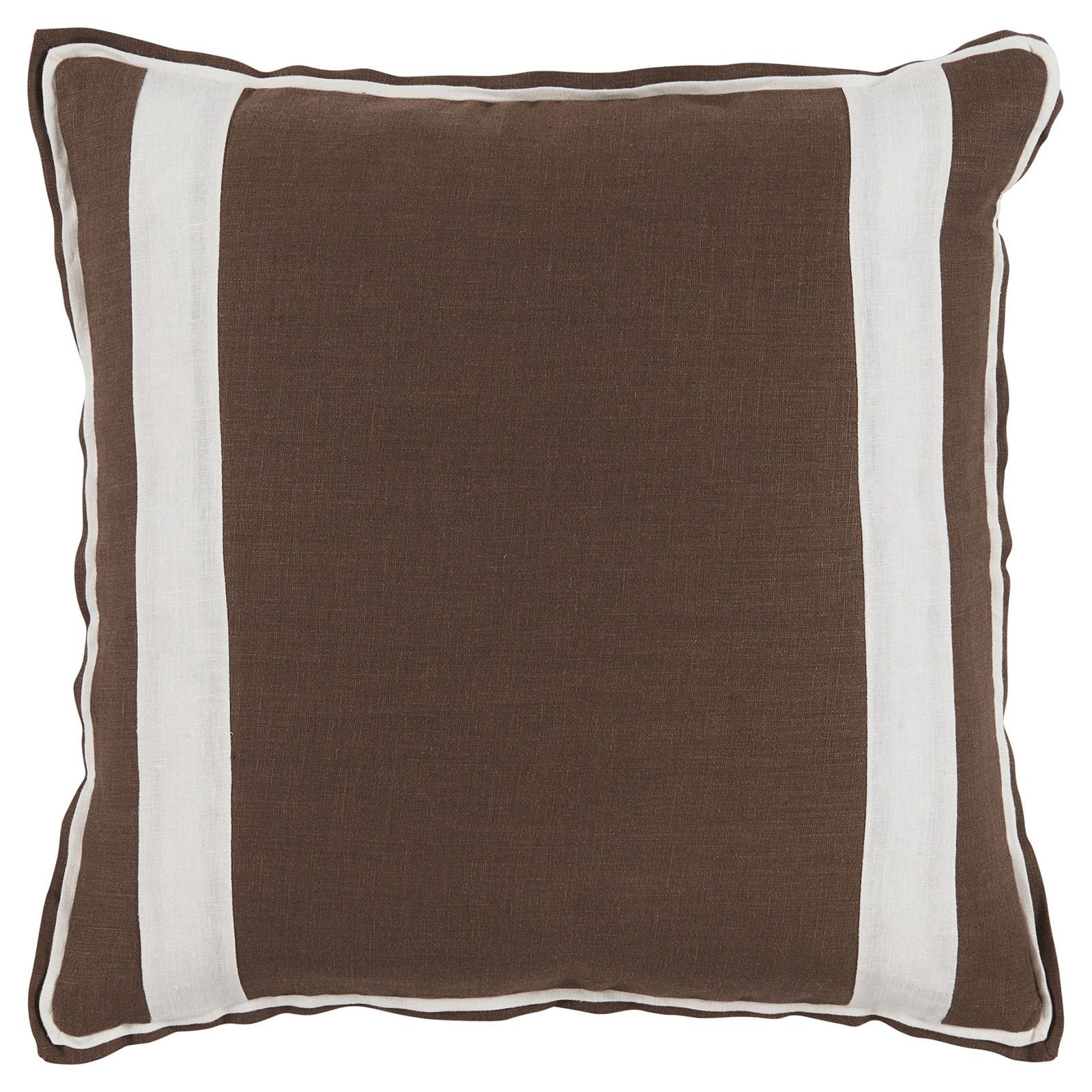 Bobbi Modern Classic Bold Stripe Brown Linen Pillow - 20x20