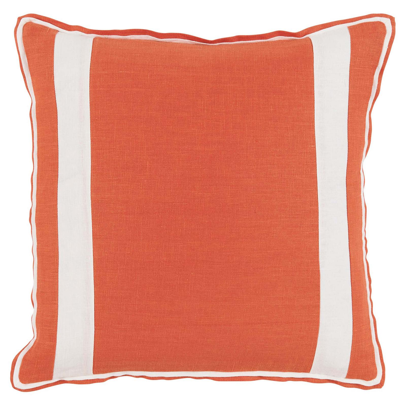 Bobbi Modern Classic Bold Stripe Orange Linen Pillow - 20x20