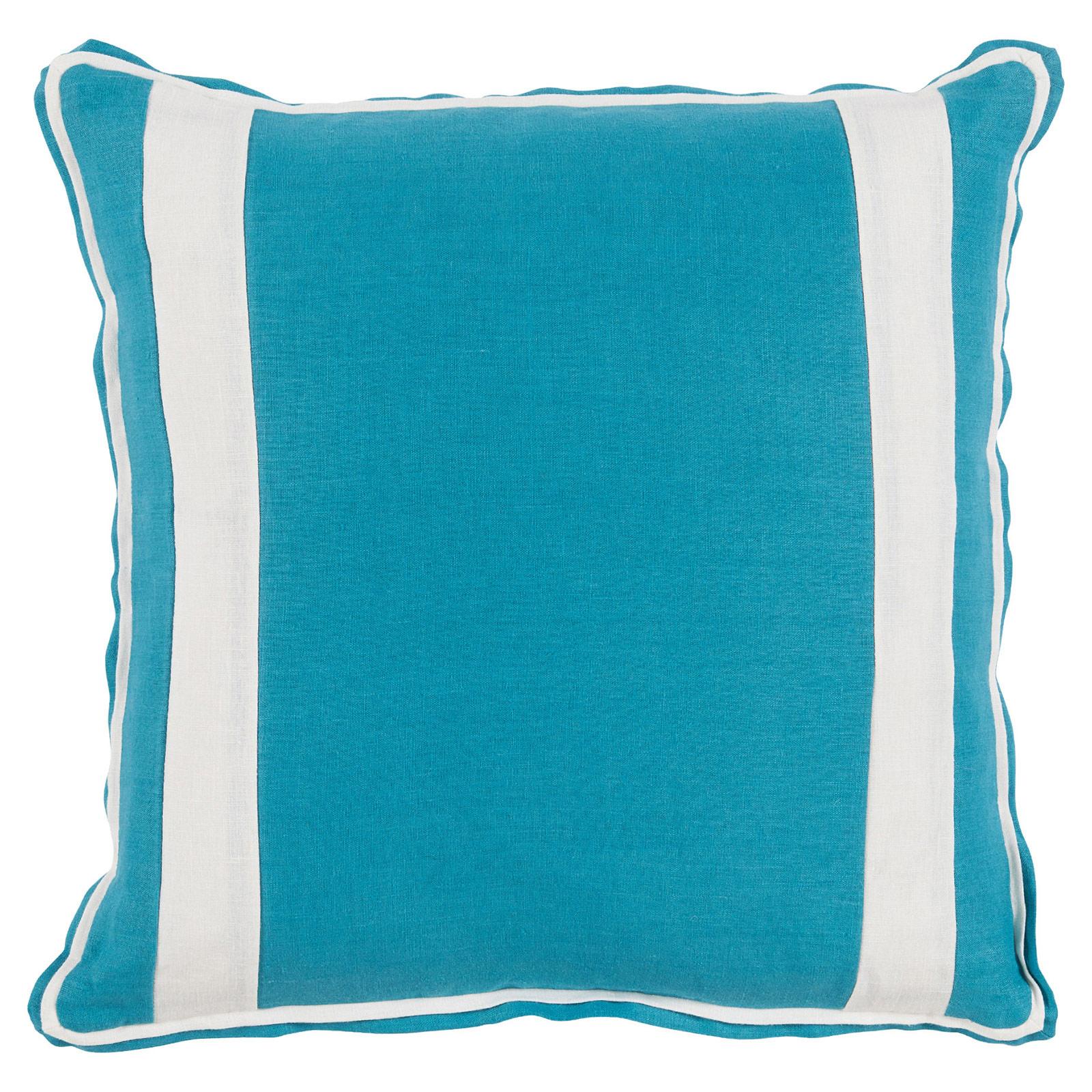 Bobbi Modern Classic Bold Stripe Aqua Linen Pillow - 20x20