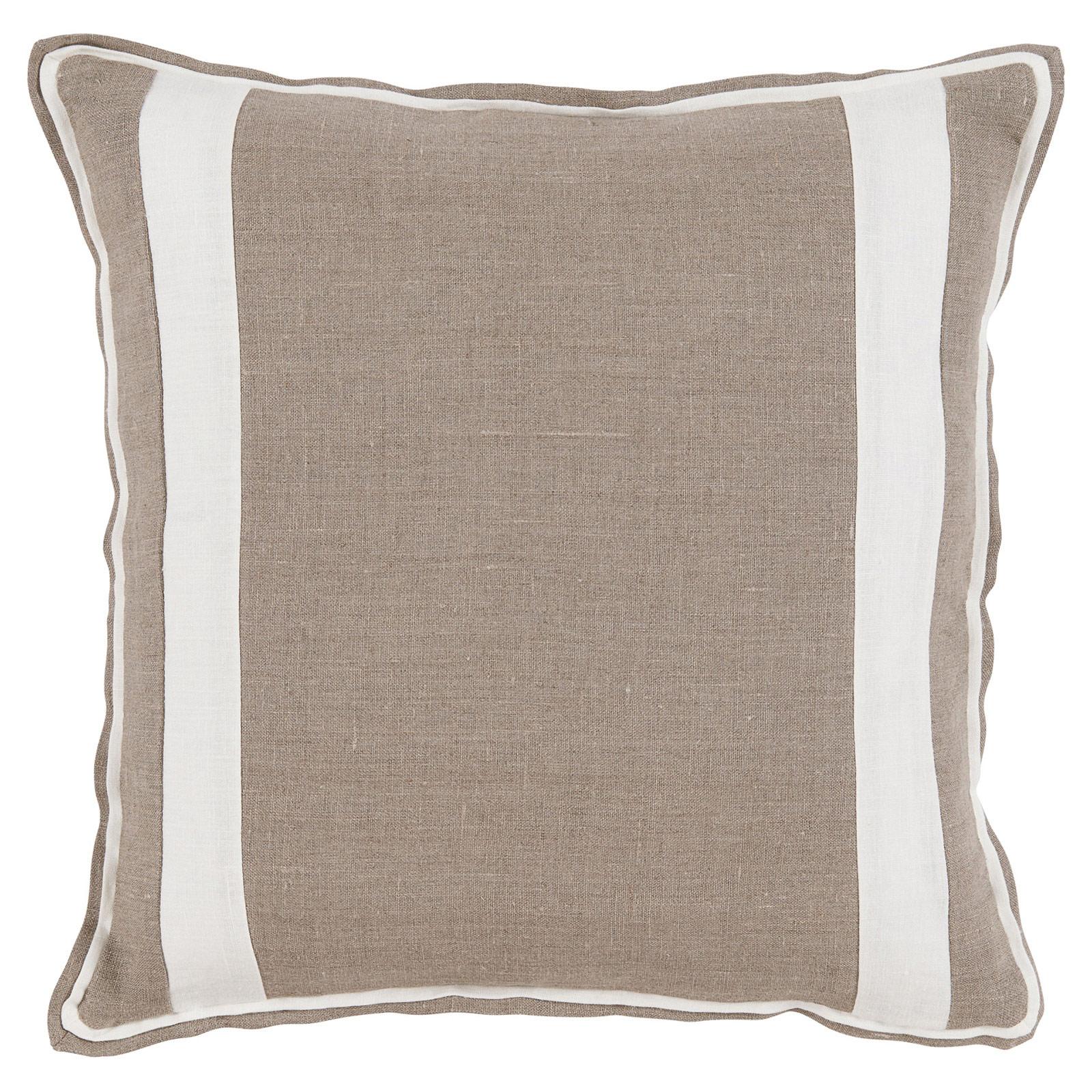 Bobbi Modern Classic Bold Stripe Beige Linen Pillow - 20x20