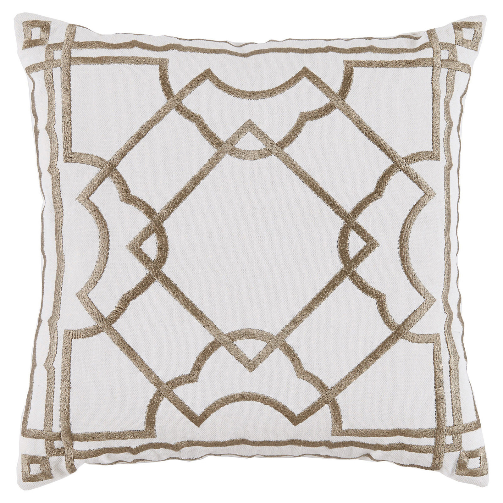 Cugat Modern Deco Beige Embroidered White Pillow - 20x20