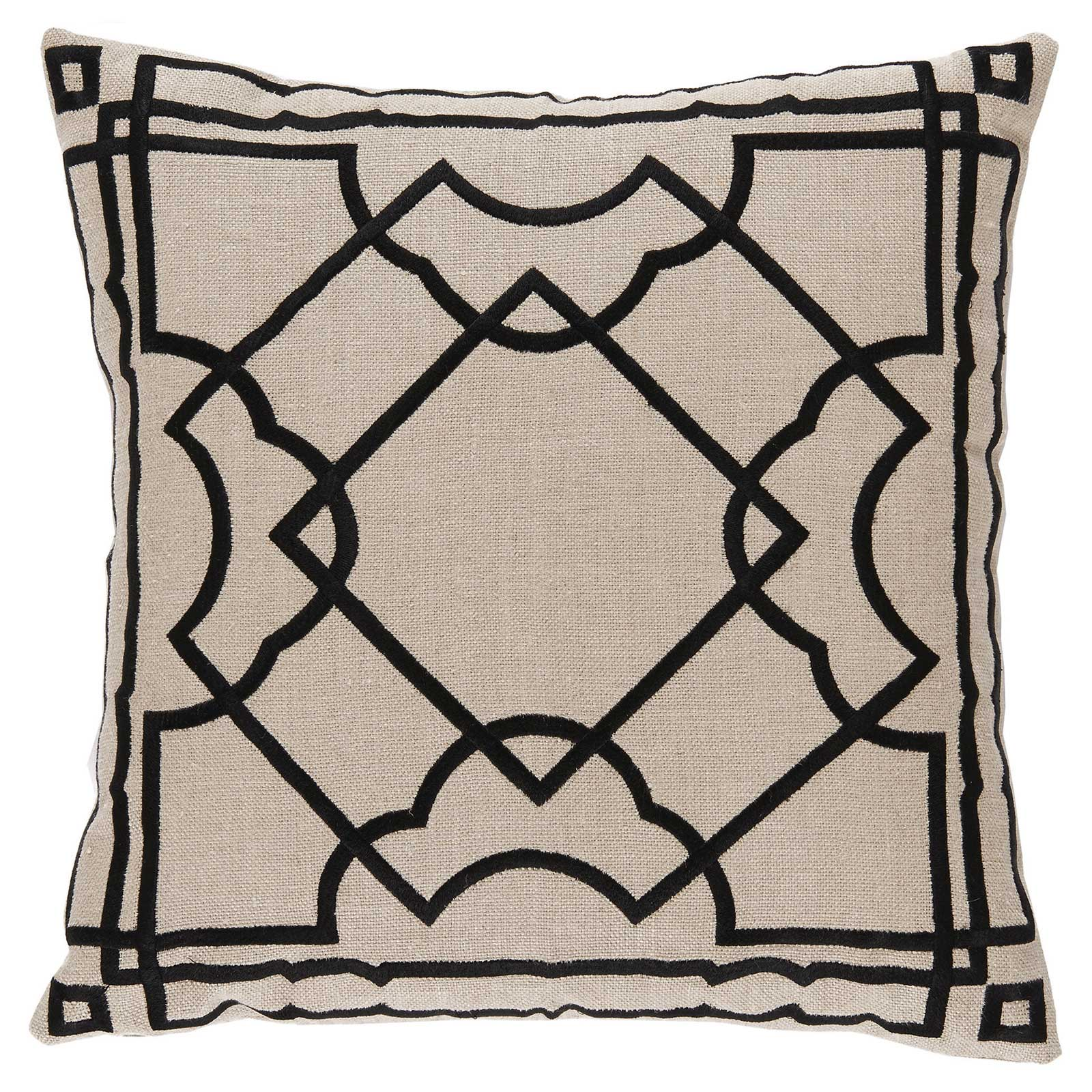 Cugat Modern Deco Black Embroidered Beige Pillow - 20x20