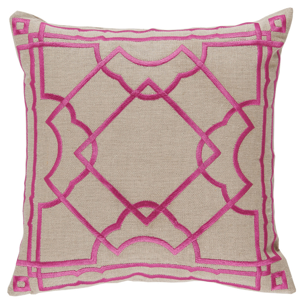 Cugat Modern Deco Fuchsia Embroidered Beige Pillow - 20x20