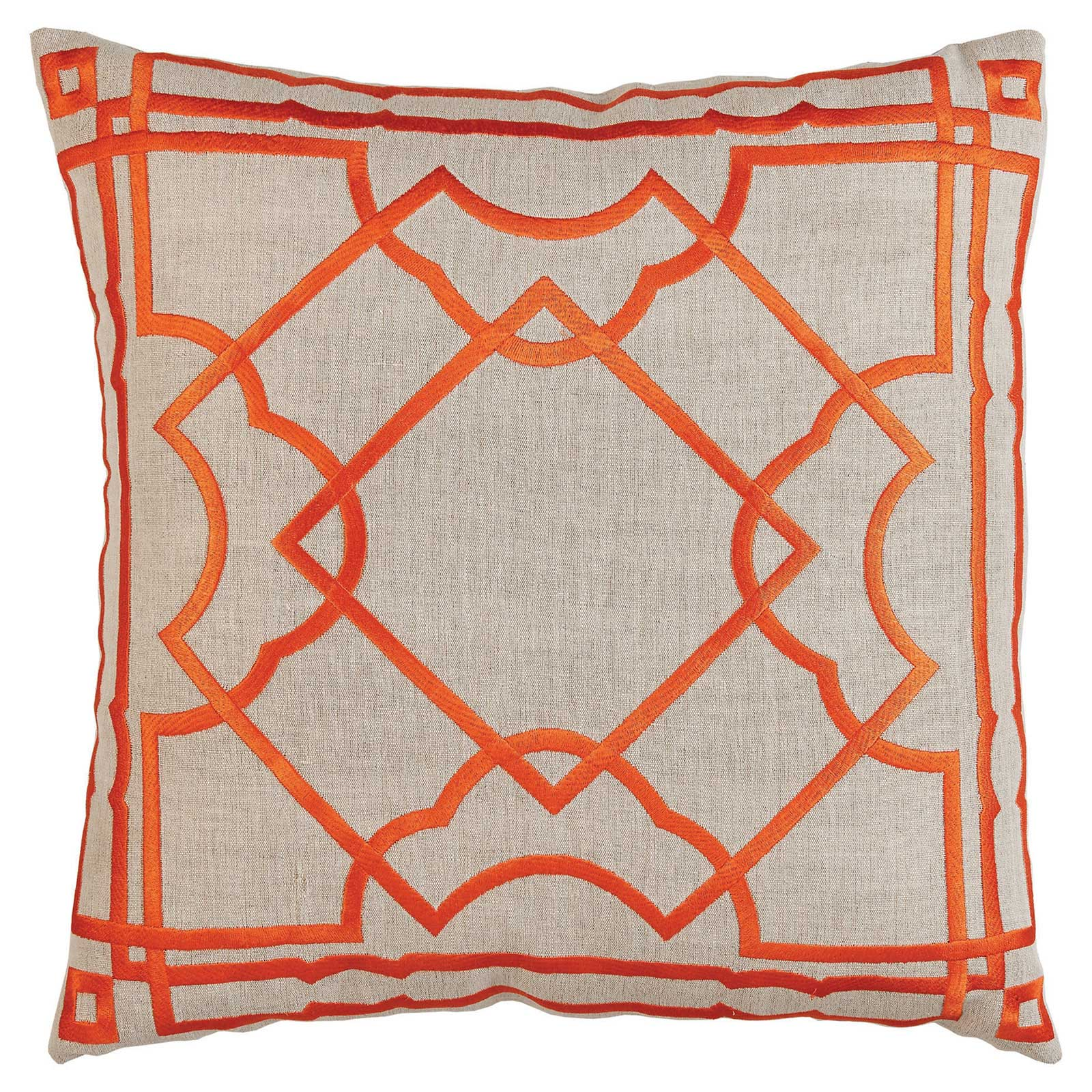 Cugat Modern Deco Orange Embroidered Beige Pillow - 20x20