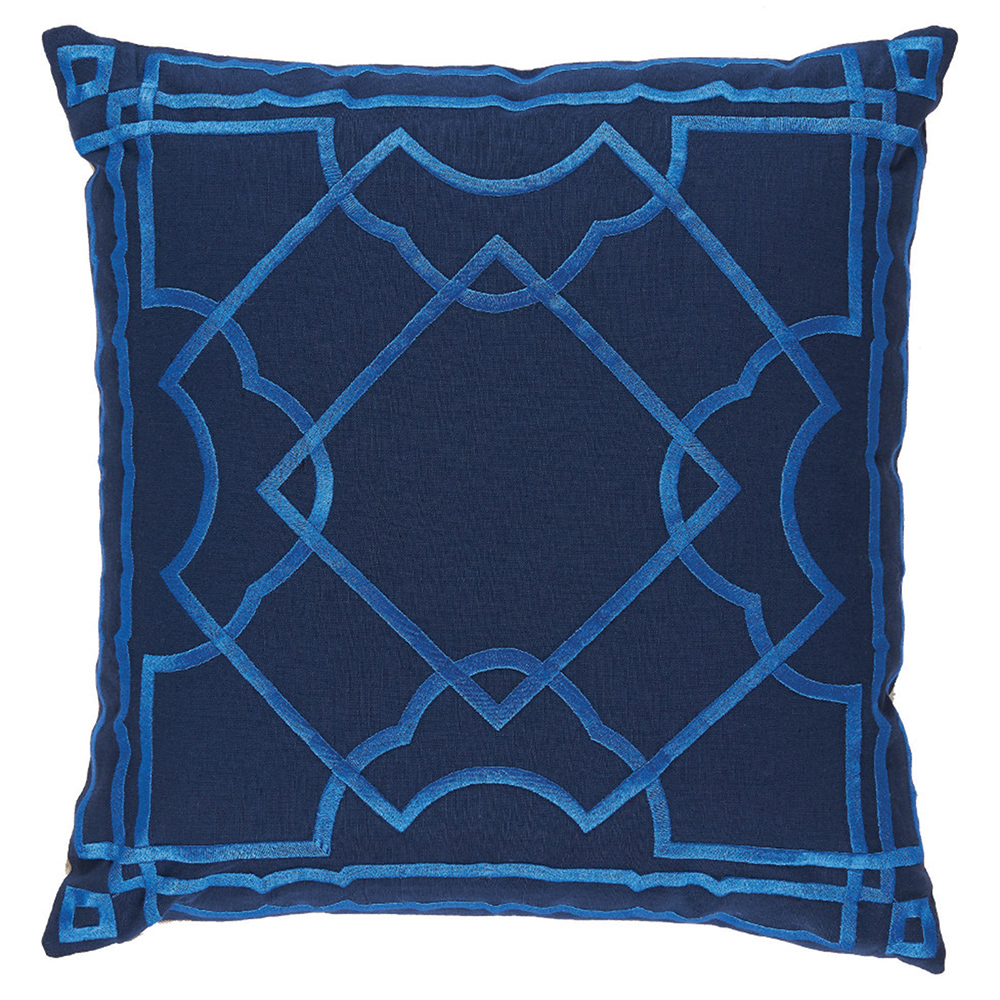 Cugat Modern Deco Blue Embroidered Navy Pillow - 20x20