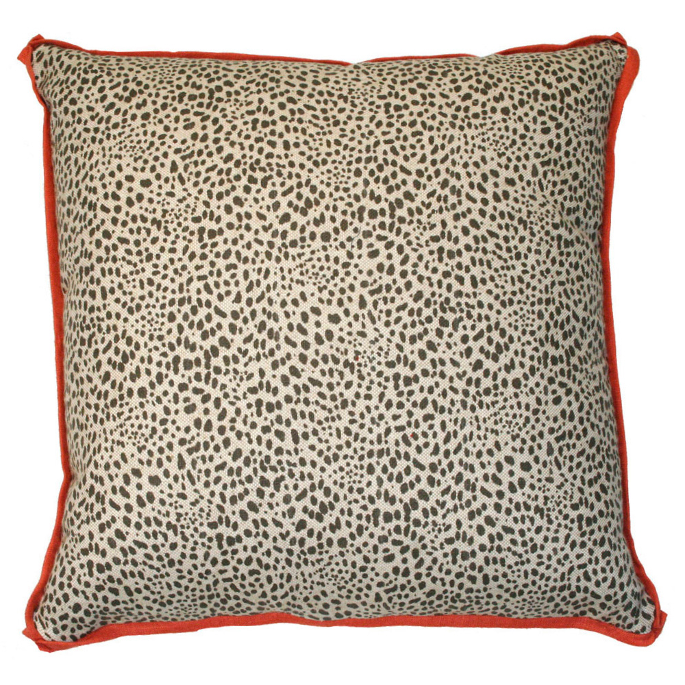 ​Cleo Global Bazaar Leopard Dot Red Trim Pillow - 20x20