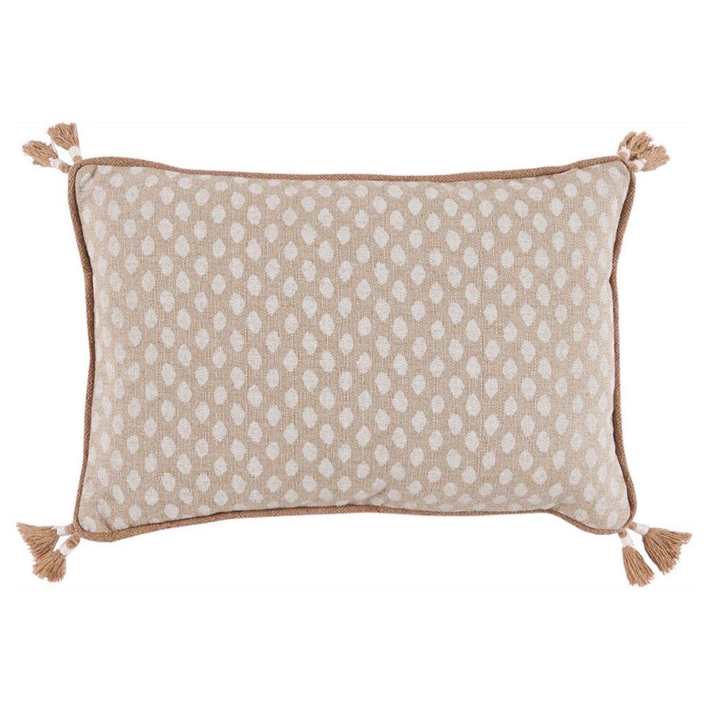 Milia Bazaar Orange Ivory Dot Tassel Trim Beige Pillow - 13x19