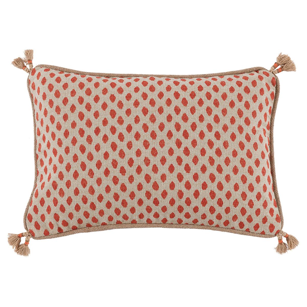 Milia Bazaar Red Tribal Dot Tassel Trim Beige Pillow - 13x19