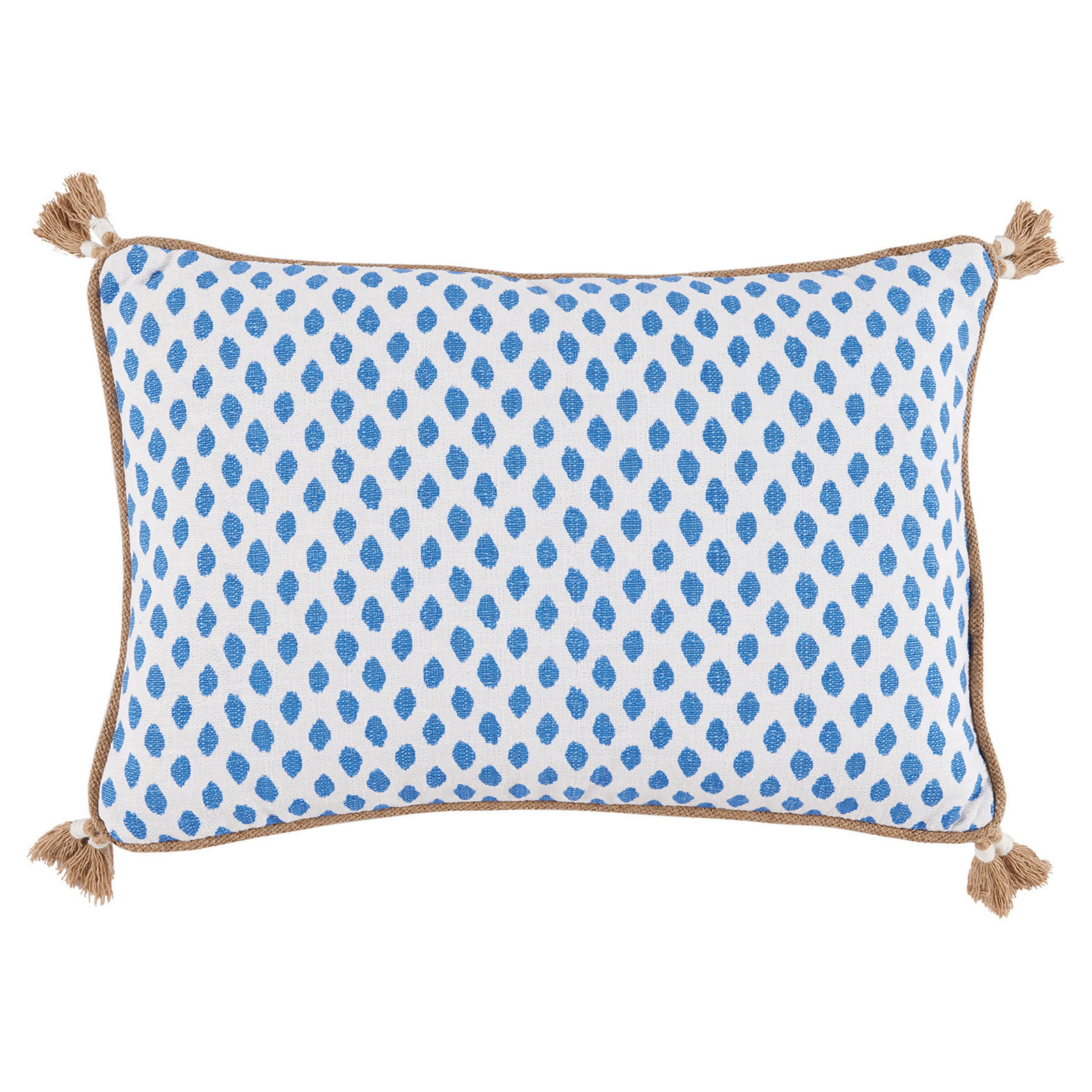 Milia Bazaar Blue Tribal Dot Tassel Trim Pillow - 13x19