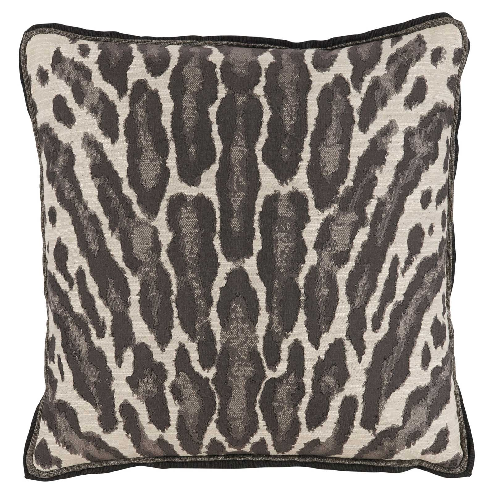 Vivy Global Regency Abstract Leopard Print Grey Pillow - 22x22