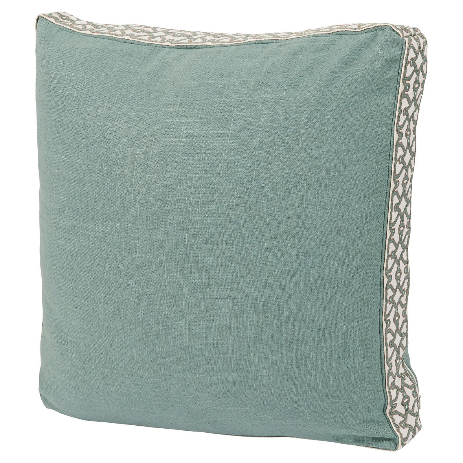 Jerri Modern Classic Pattern Box Edge Sea Green Pillow - 18x18