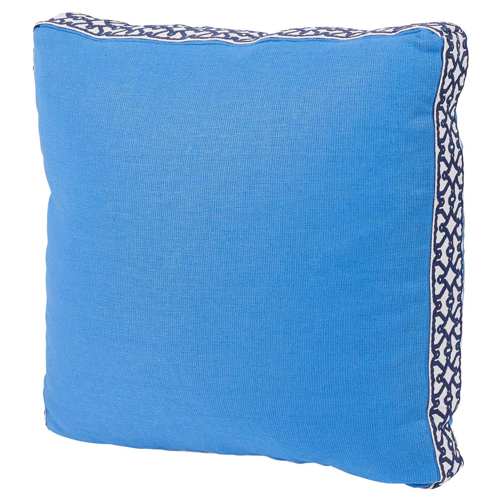Jerri Modern Classic Pattern Box Edge Bright Blue Pillow - 18x18