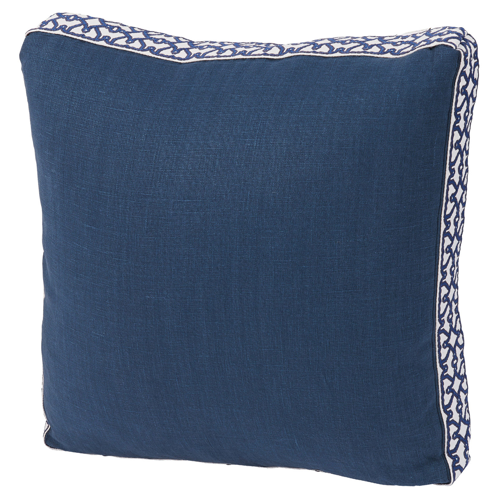 Jerri Modern Classic Pattern Box Edge Navy Pillow - 18x18