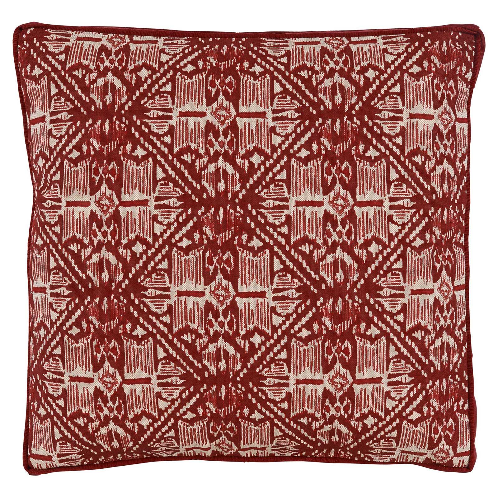 Anji Global Bazaar Rustic Red Batik Prism Pillow - 22x22