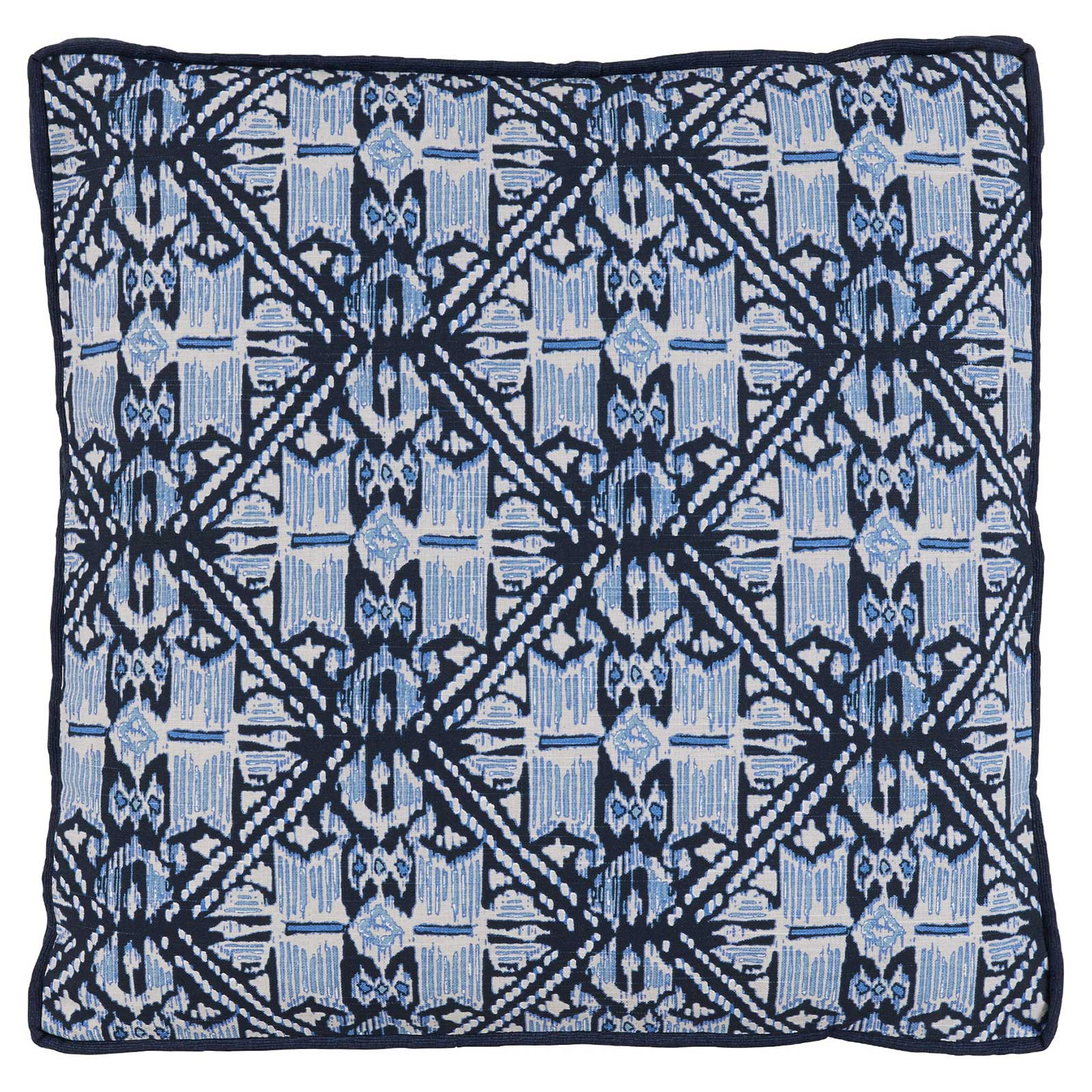 Anji Global Bazaar Rustic Blue Batik Prism Pillow - 22x22