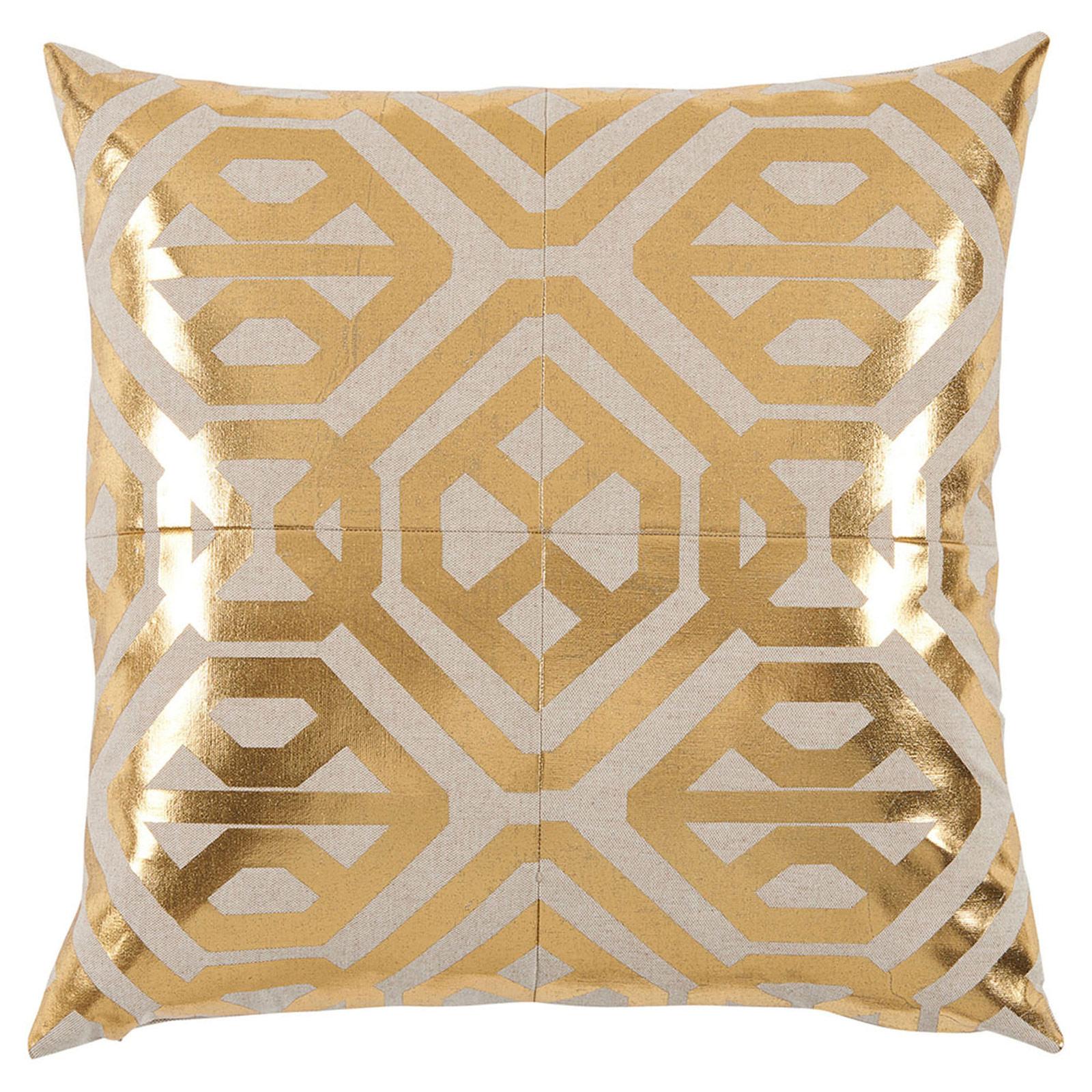 Kelly Regency Metallic Gold Geometric Beige Pillow - 20x20