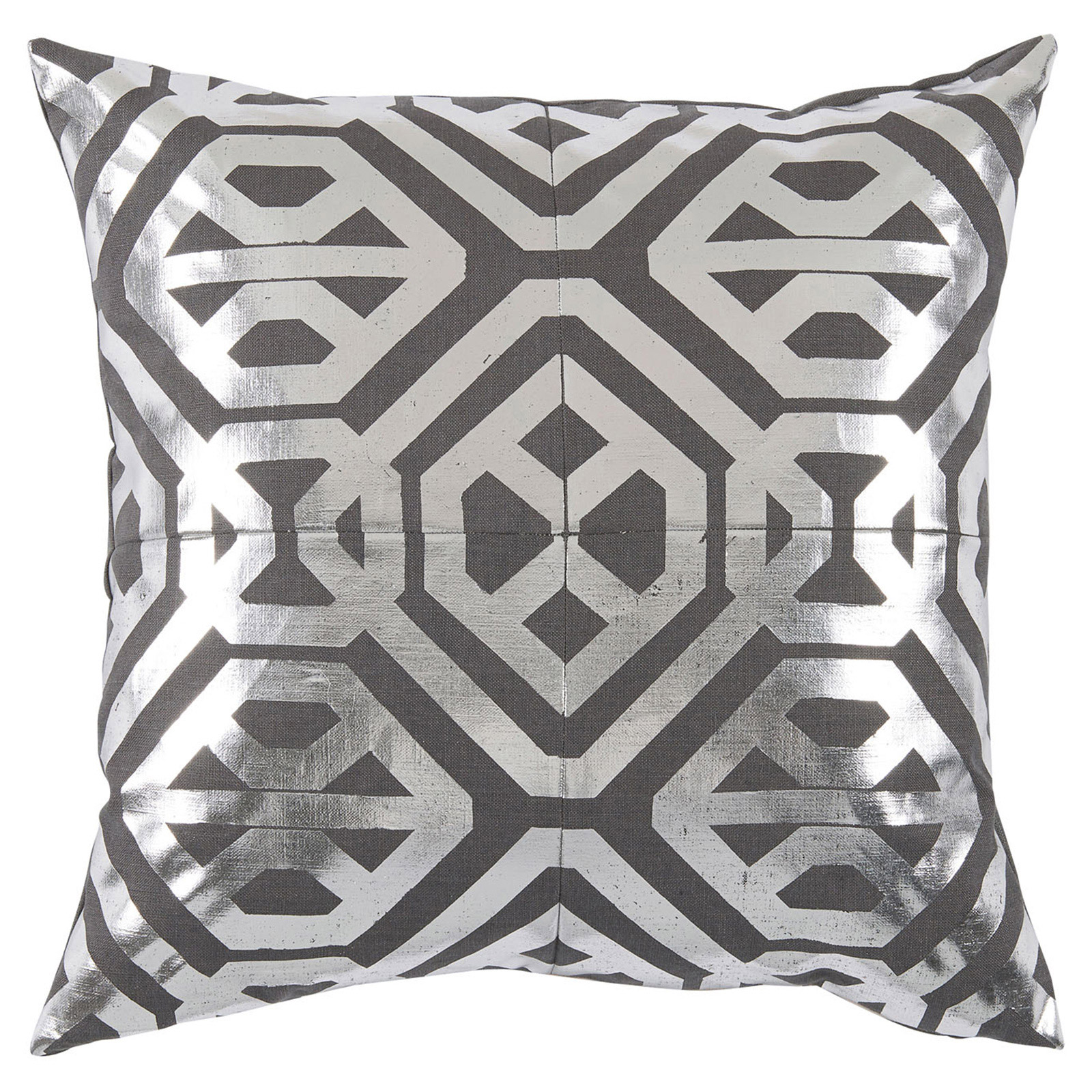 Kelly Regency Metallic Silver Geometric Grey Pillow - 20x20