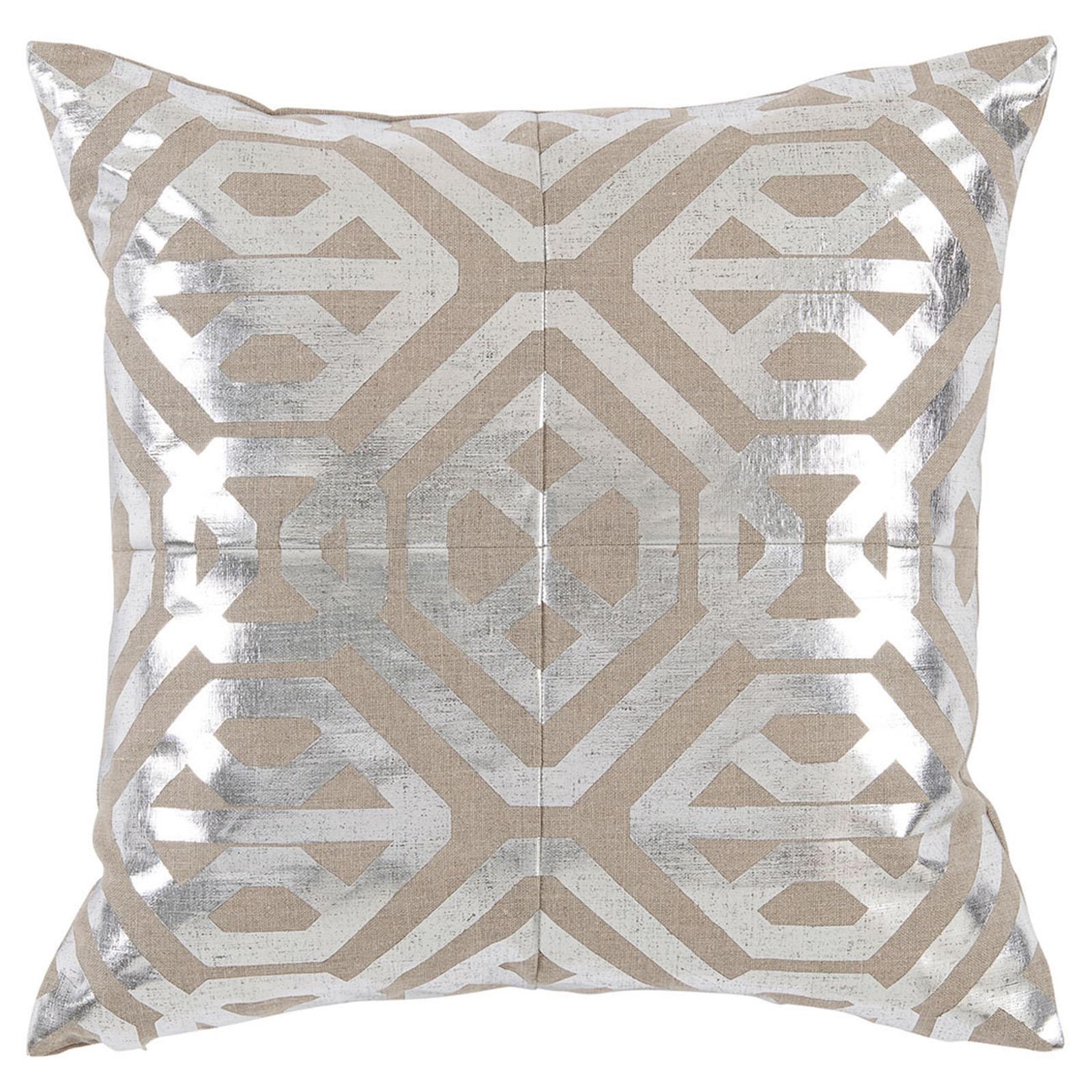 Kelly Regency Metallic Silver Geometric Beige Pillow - 20x20