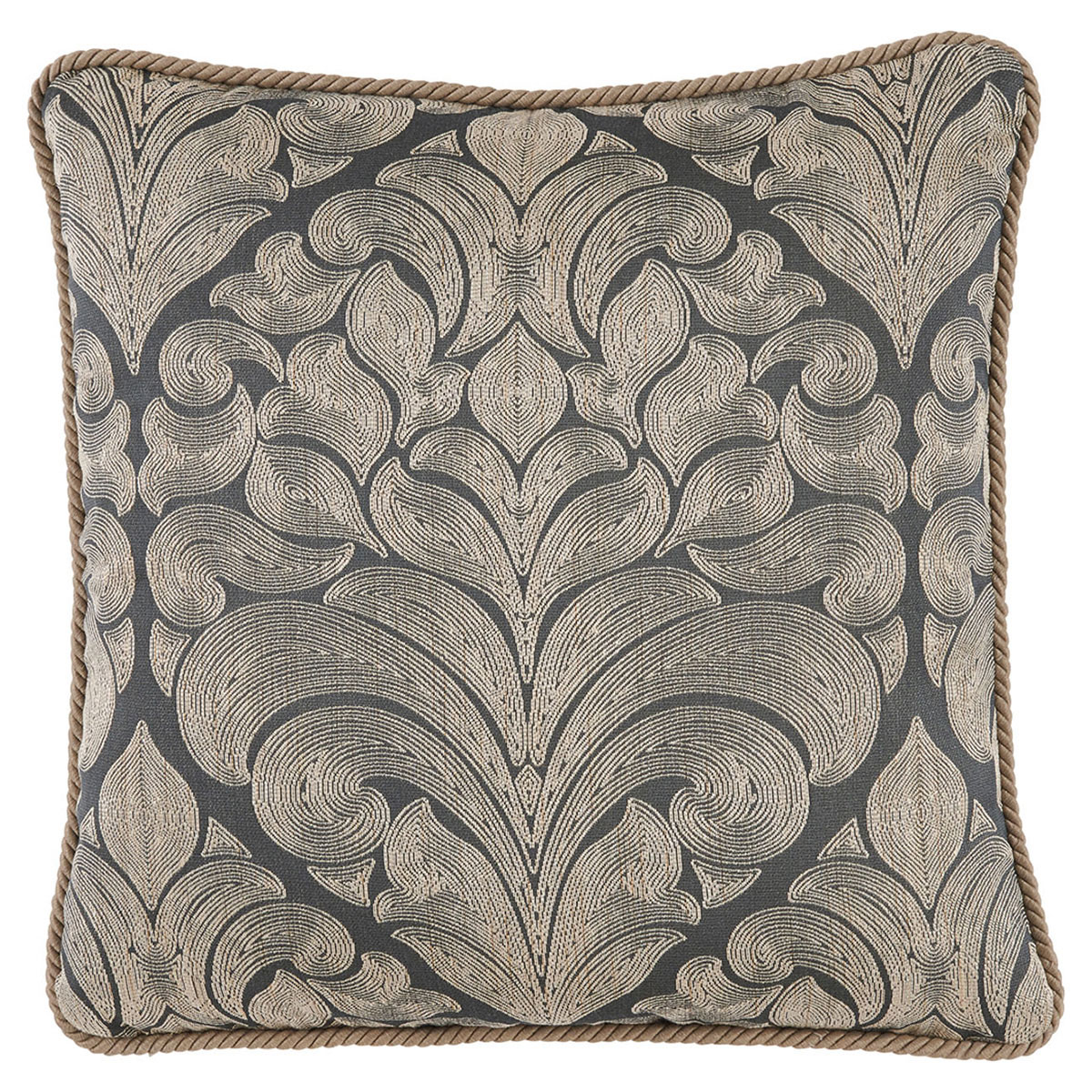 Pepin French Woven Charcoal Medallion Pillow - 22x22