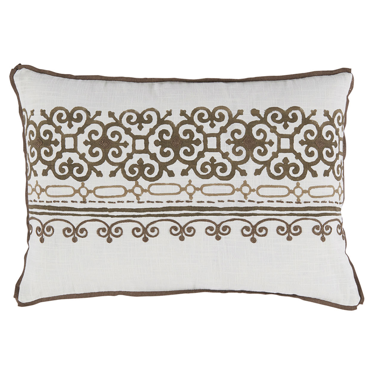 Lamont French Heritage Scroll Motif Brown Pillow - 13x19