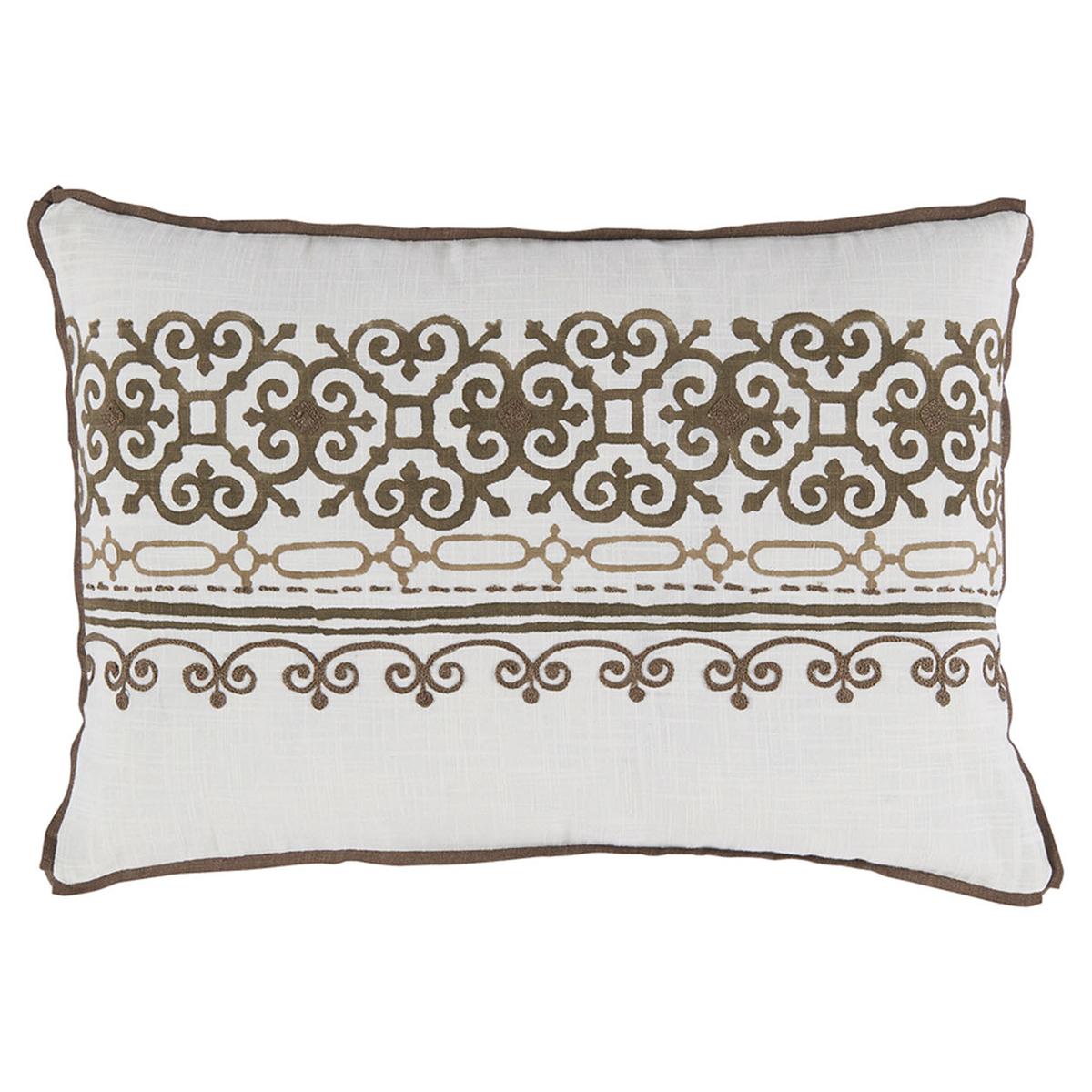 Lamont French Heritage Scroll Motif Brown Pillow - 13x19