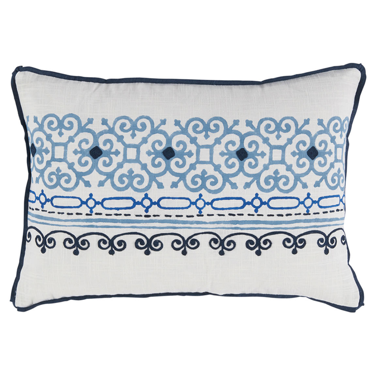 Lamont French Heritage Scroll Motif Blue Pillow - 13x19
