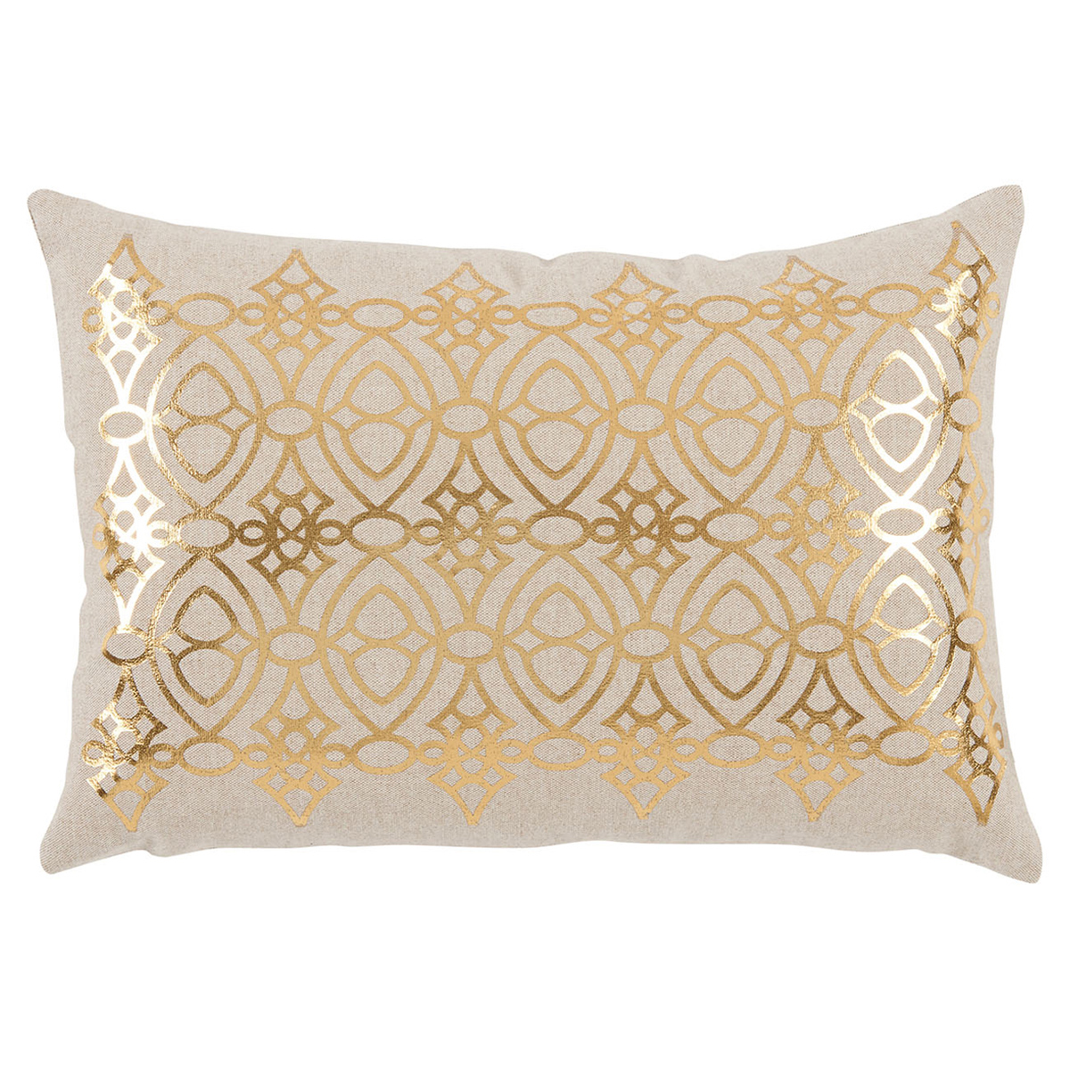 Avril Hollywood Regency Gold Lattice Beige Pillow - 13x19