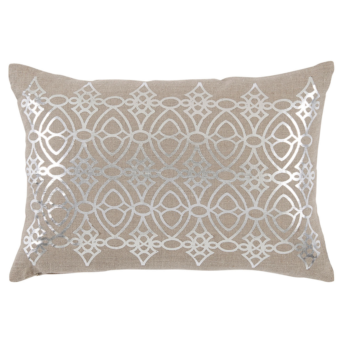 Avril Hollywood Regency Silver Lattice Beige Pillow - 13x19