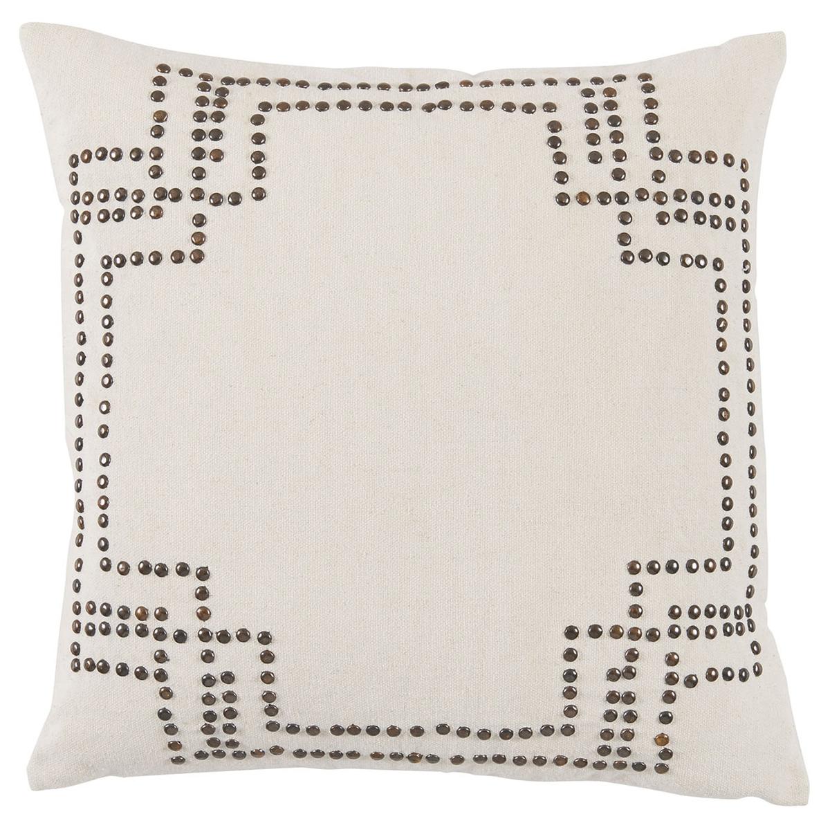 Hadid Hollywood Regency Nickel Stud Ivory Pillow - 20x20