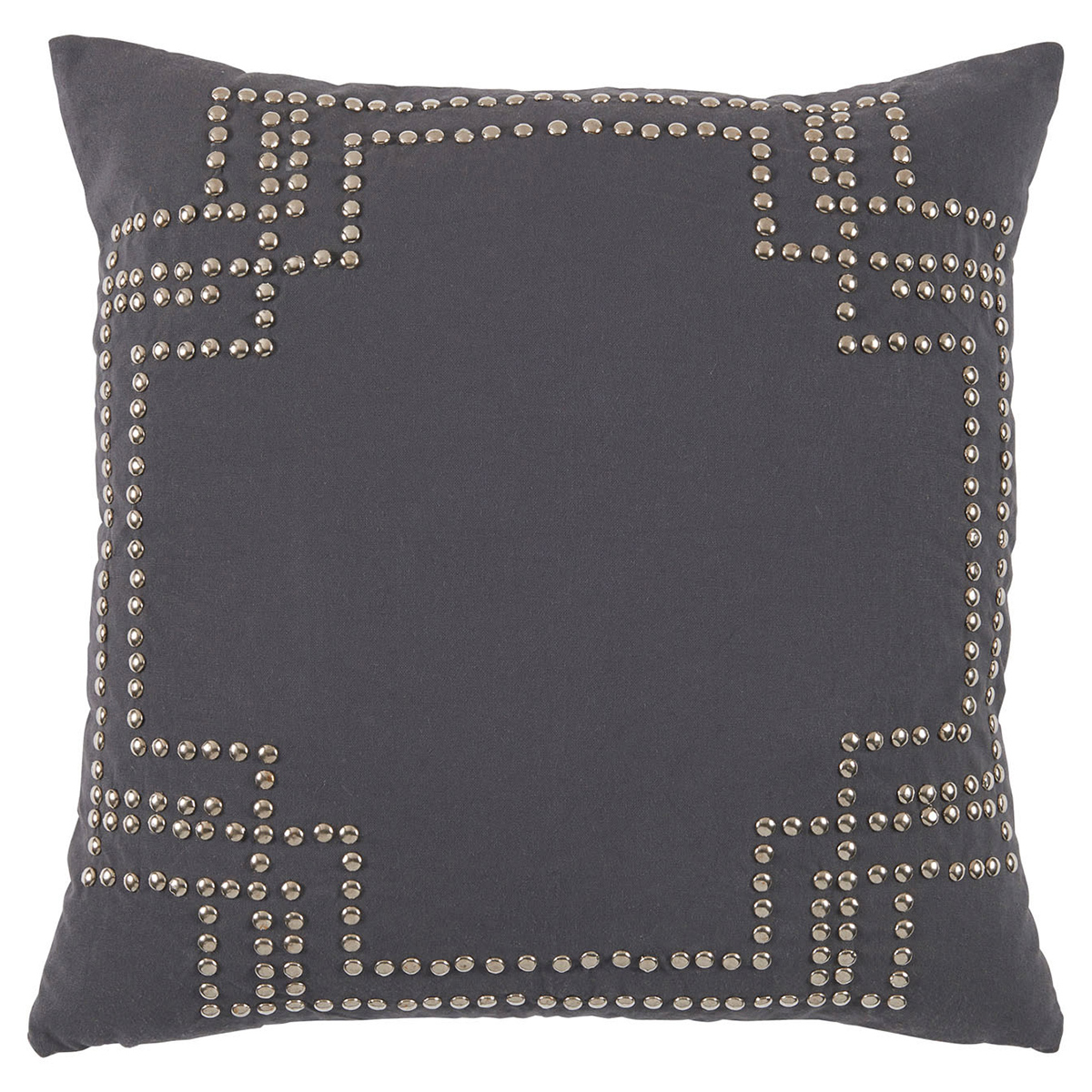 Hadid Hollywood Regency Silver Stud Charcoal Pillow - 20x20