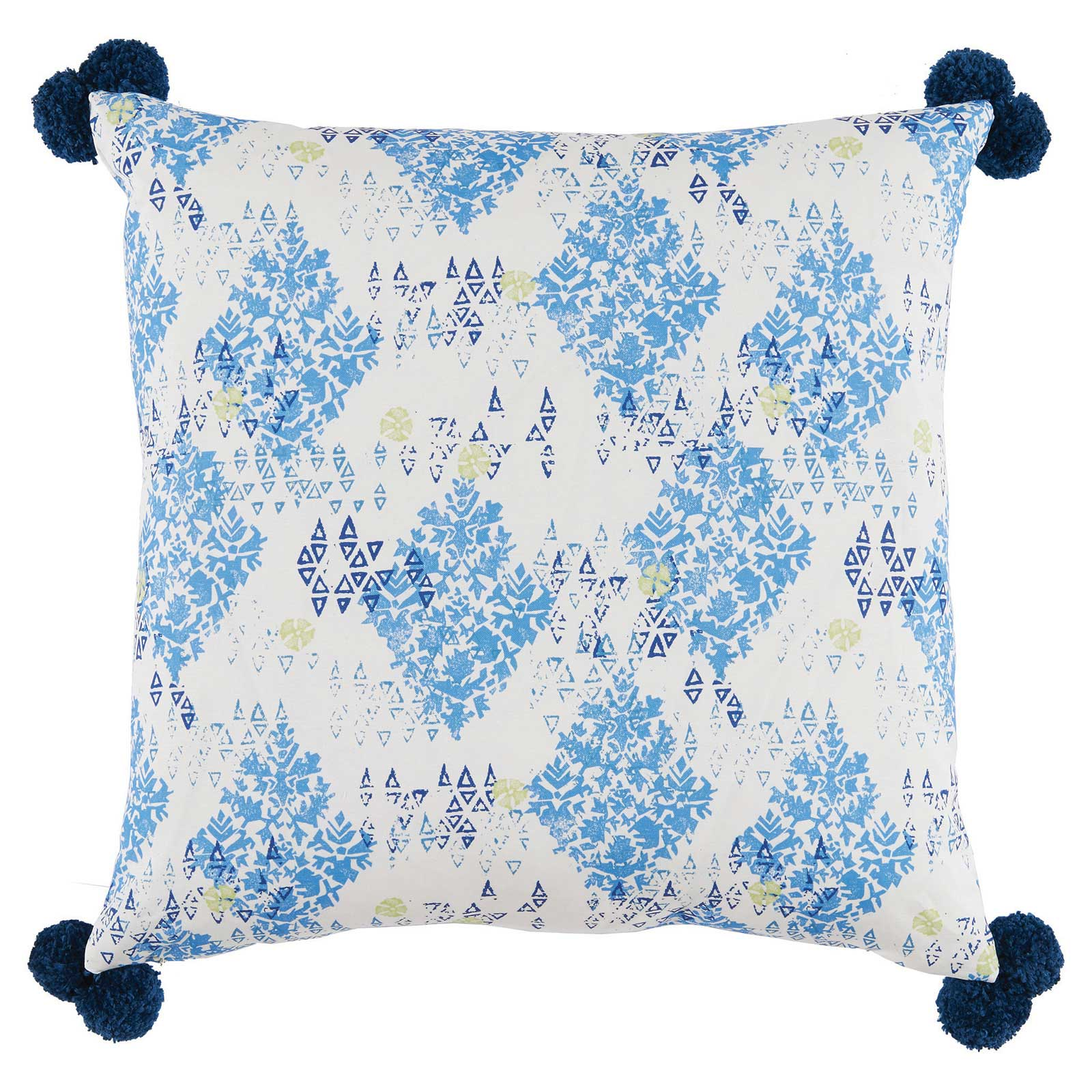 Lottie Modern Block Printed Navy Blue Pom Pom Pillow - 24x24