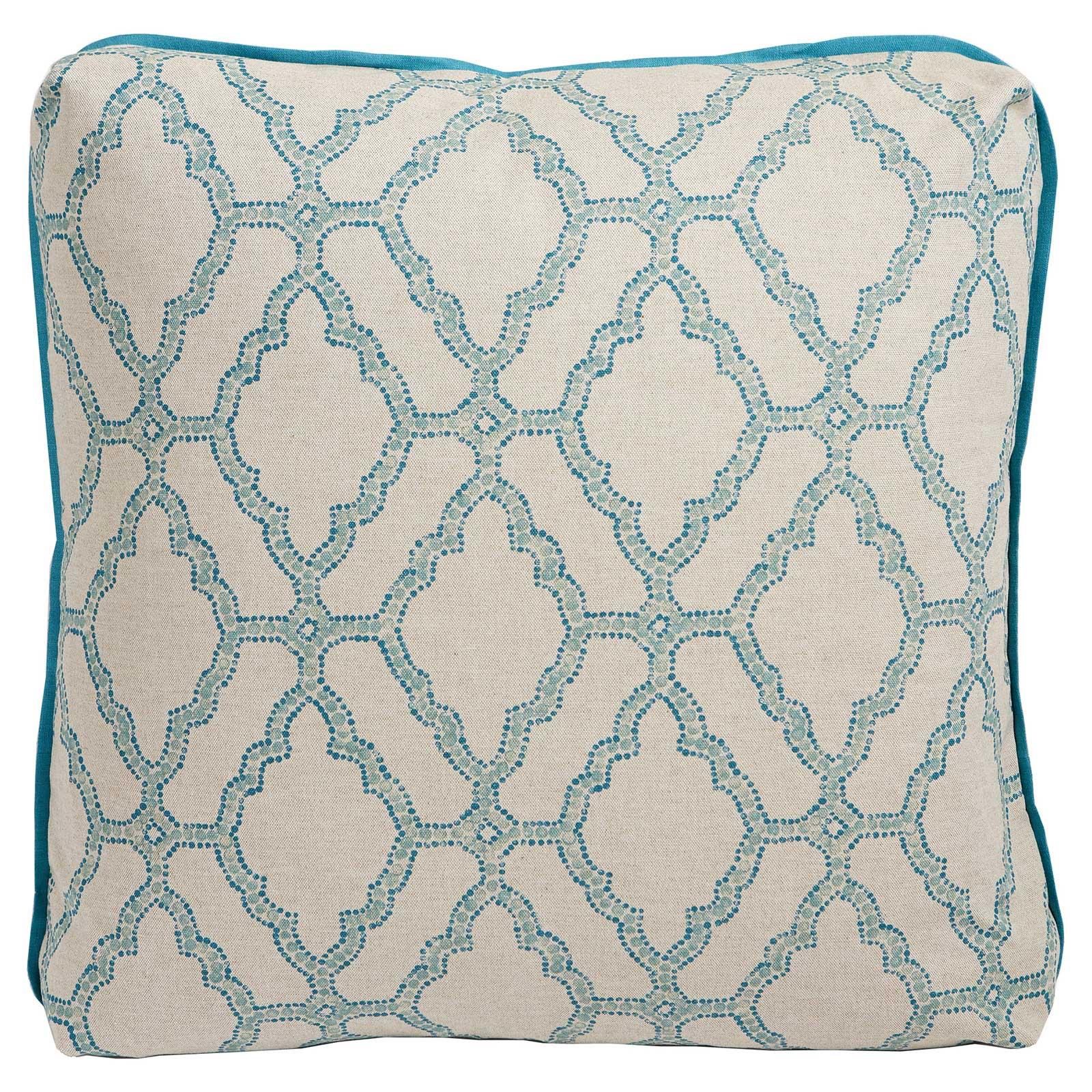 Esma Global Bazaar Turkish Medallion Teal Linen Pillow- 24x24