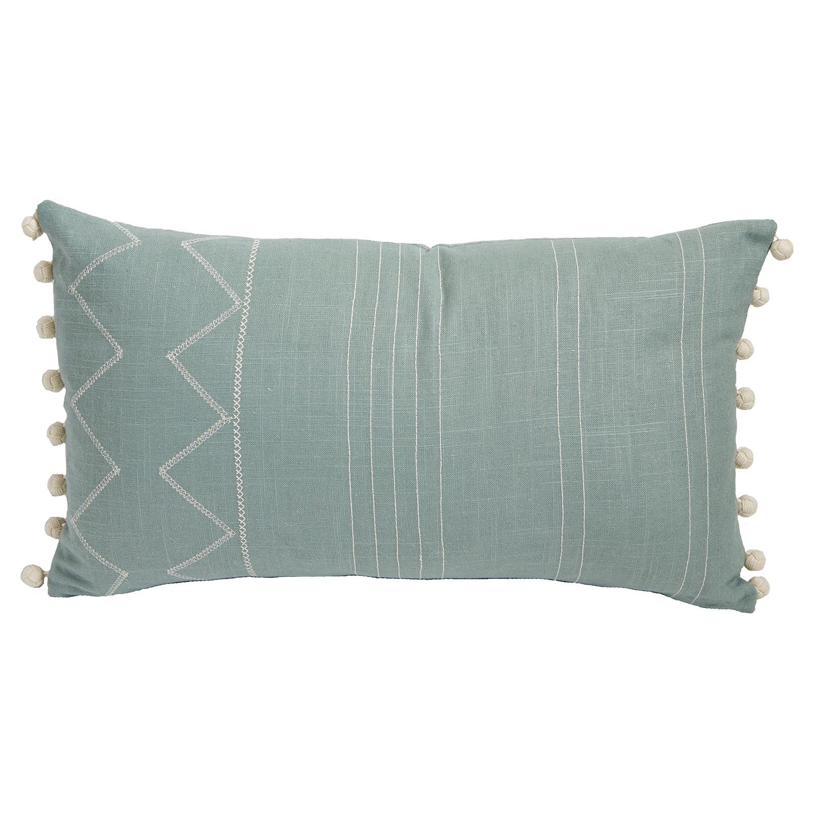 Lulu Bazaar Stitched Linear Mineral Pom Pom Pillow- 13x22