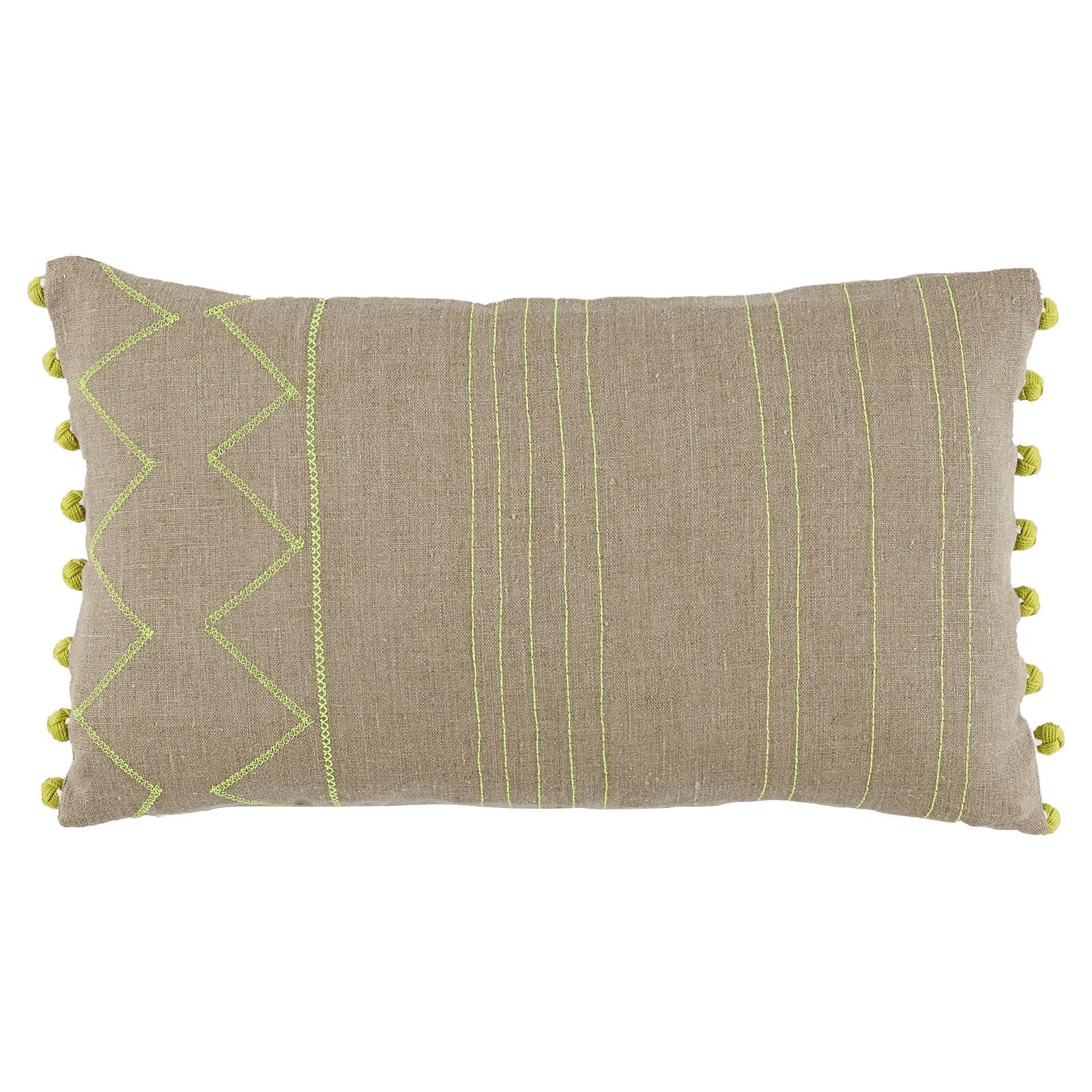 Lulu Bazaar Stitched Citrus Pom Pom Beige Pillow - 13x22