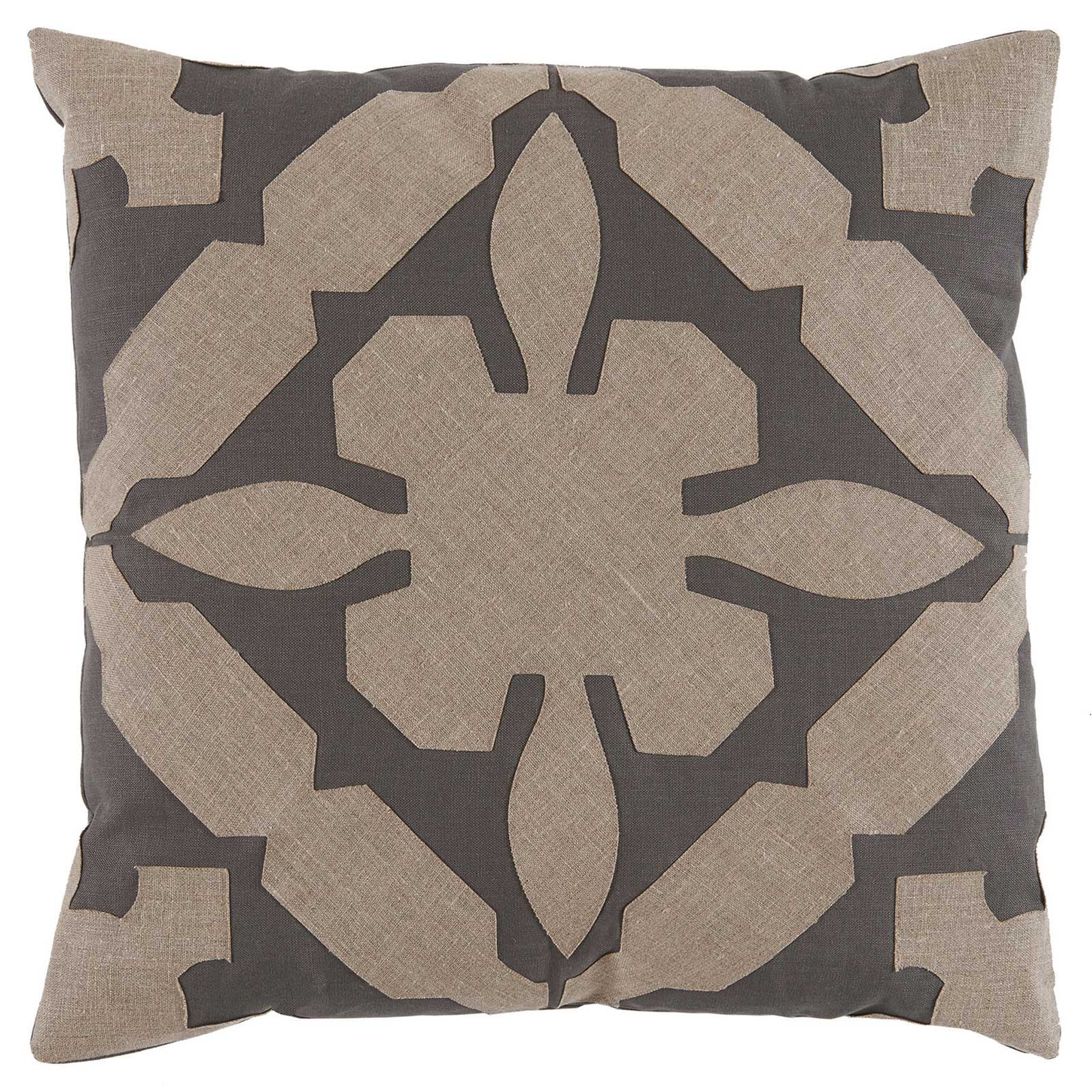 Pasha Modern Classic Applique Brown Linen Pillow - 22x22