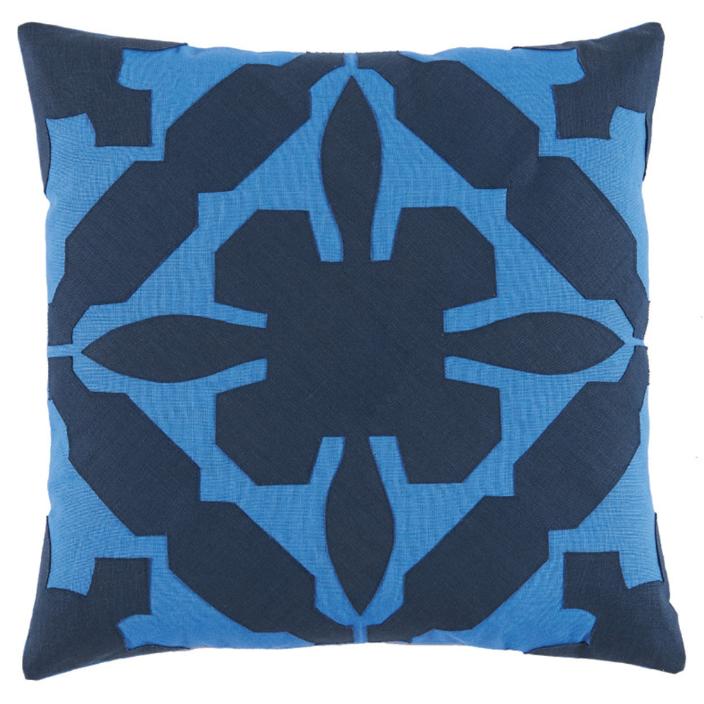 Pasha Modern Applique Blue Linen Navy Pillow - 22x22