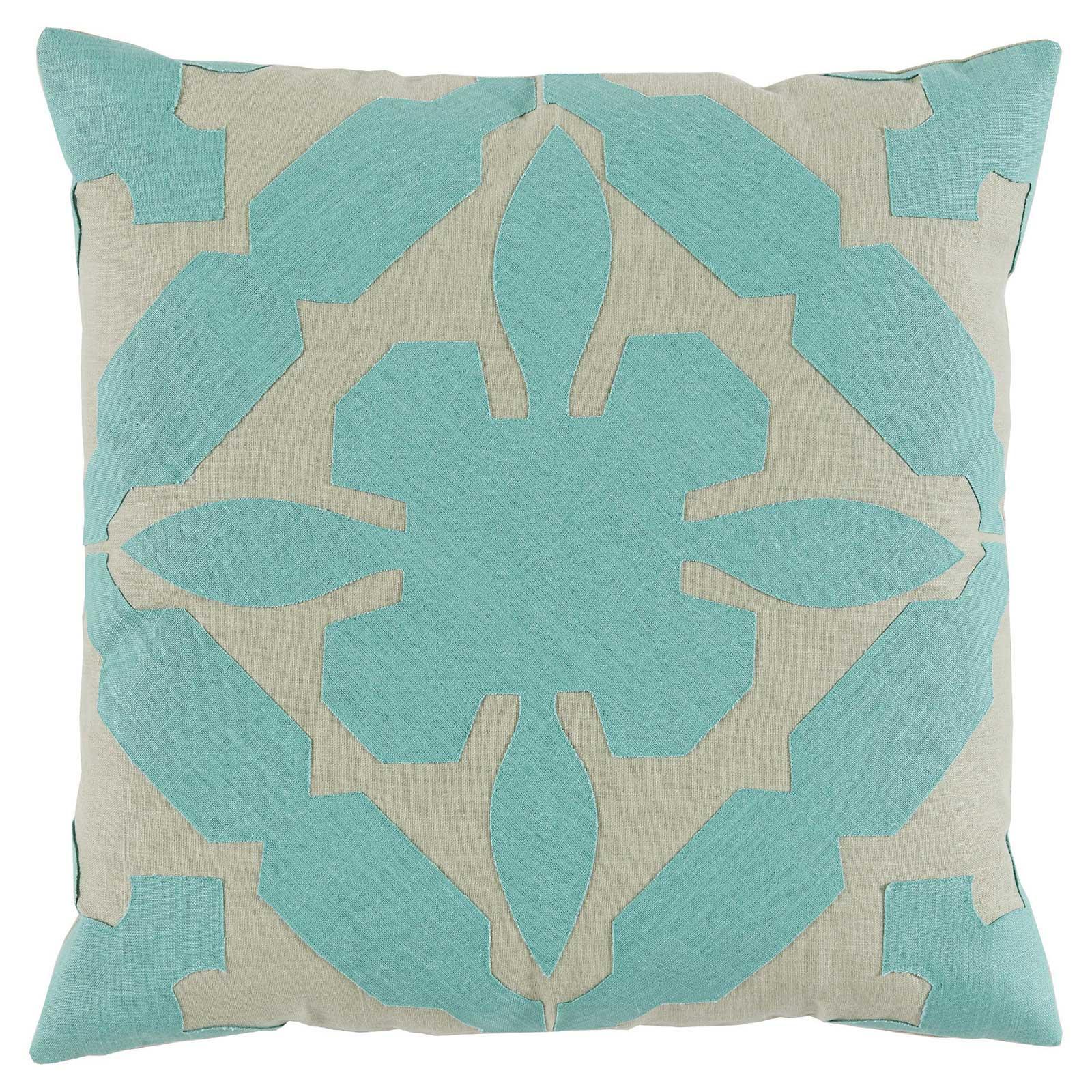 Pasha Modern Applique Seafoam Linen Beige Pillow - 22x22