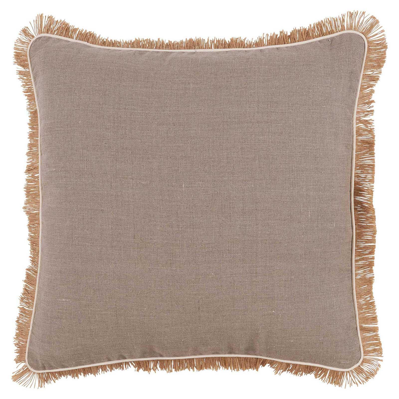 Mamie Modern Pipe Fringe Beige Linen Pillow - 24x24