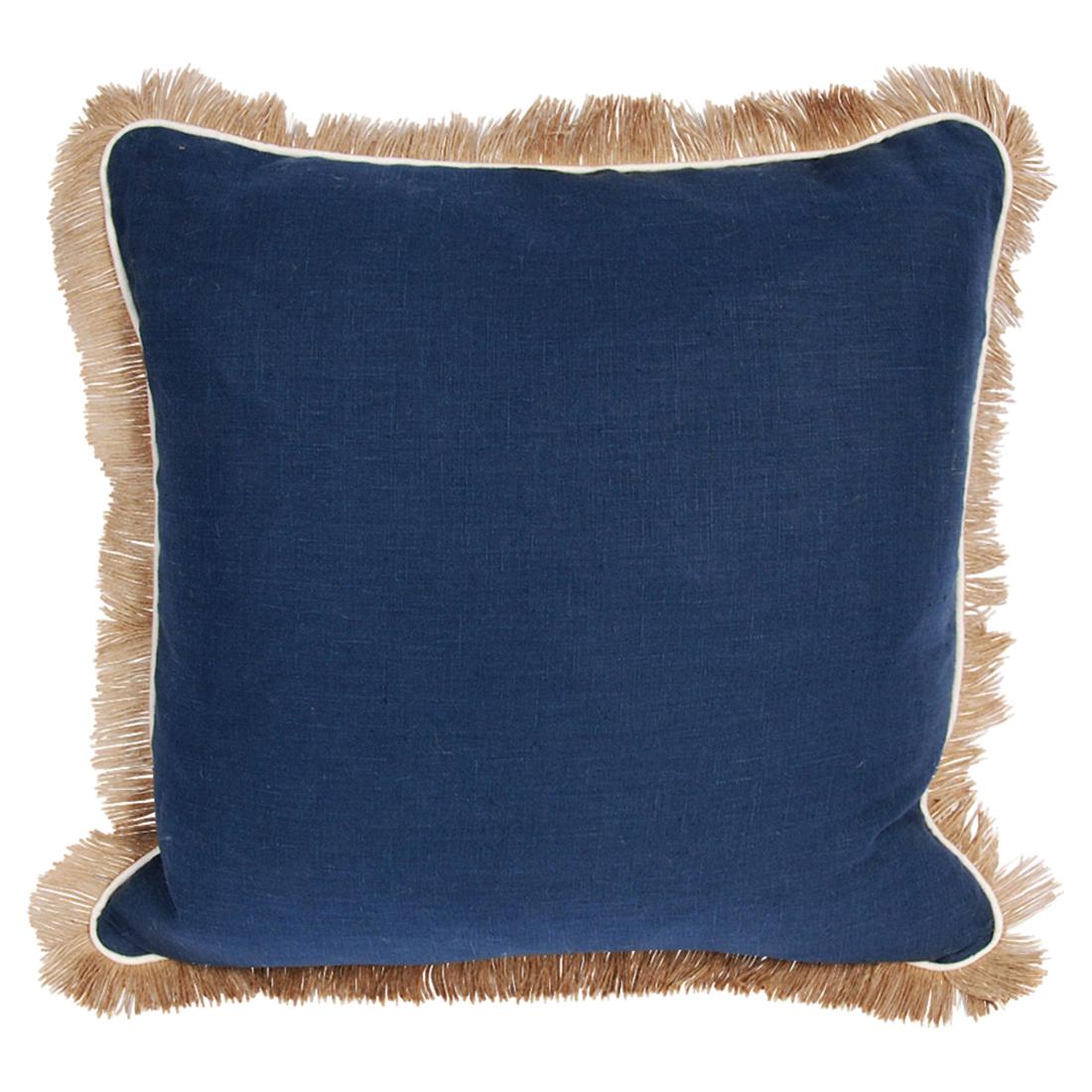 Mamie Modern Pipe Fringe Navy Linen Pillow - 24x24