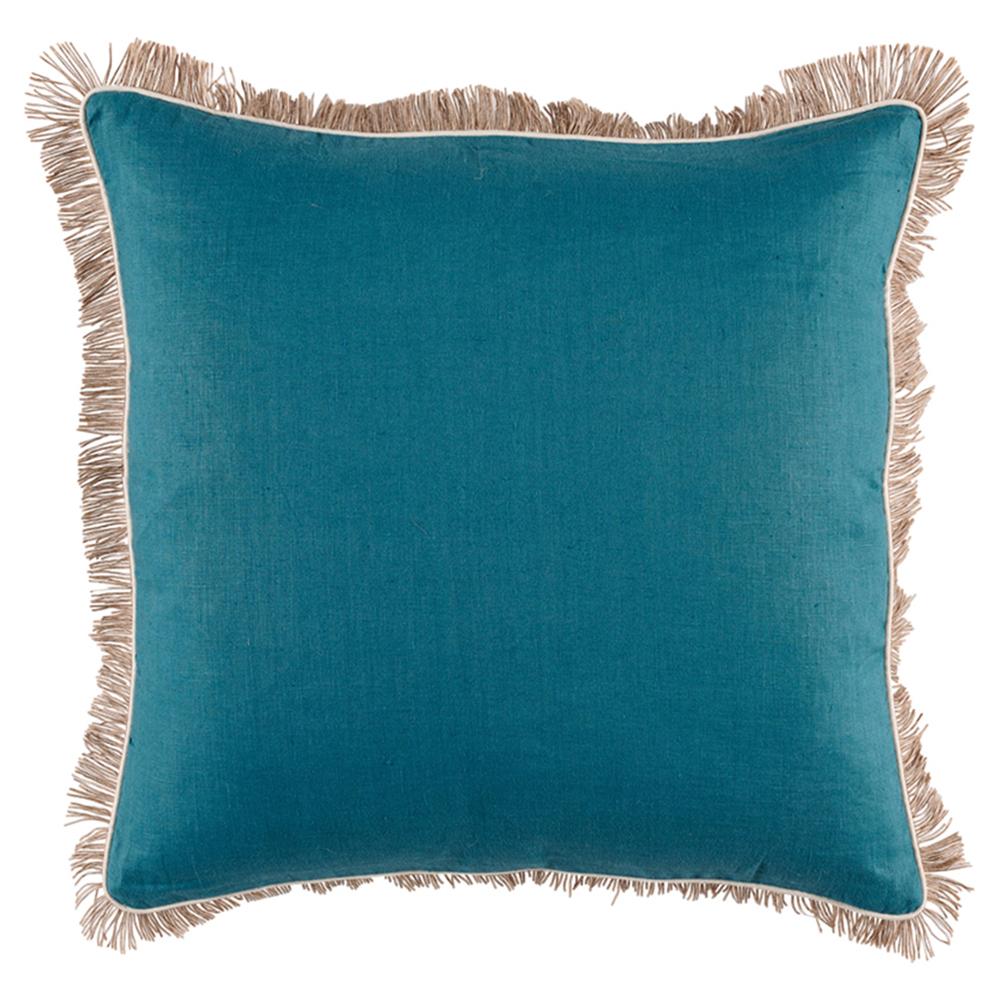 Mamie Modern Pipe Fringe Teal Linen Pillow - 24x24