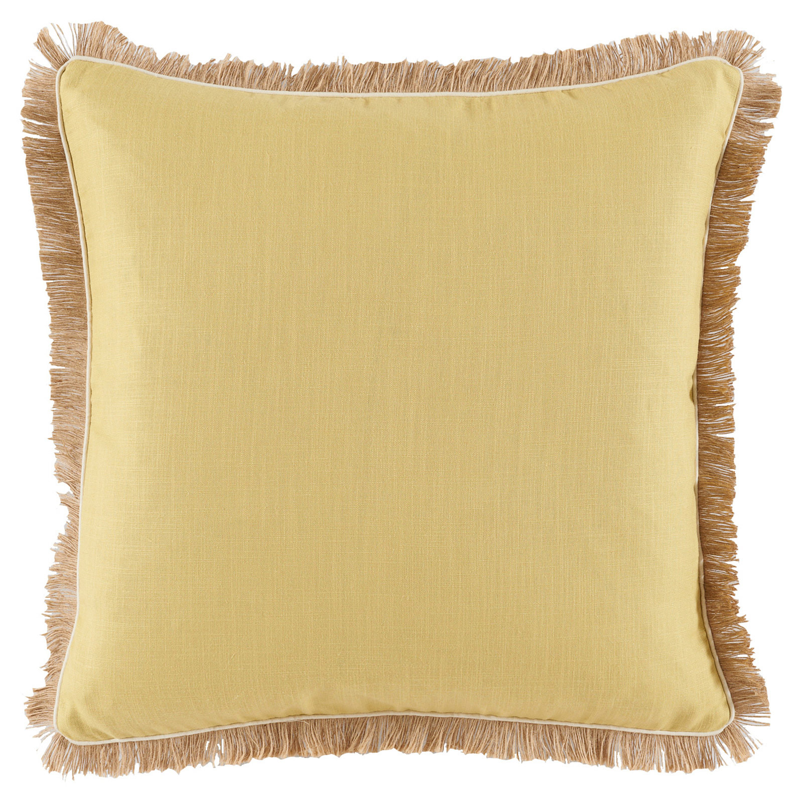 Mamie Modern Pipe Fringe Yellow Linen Pillow - 24x24