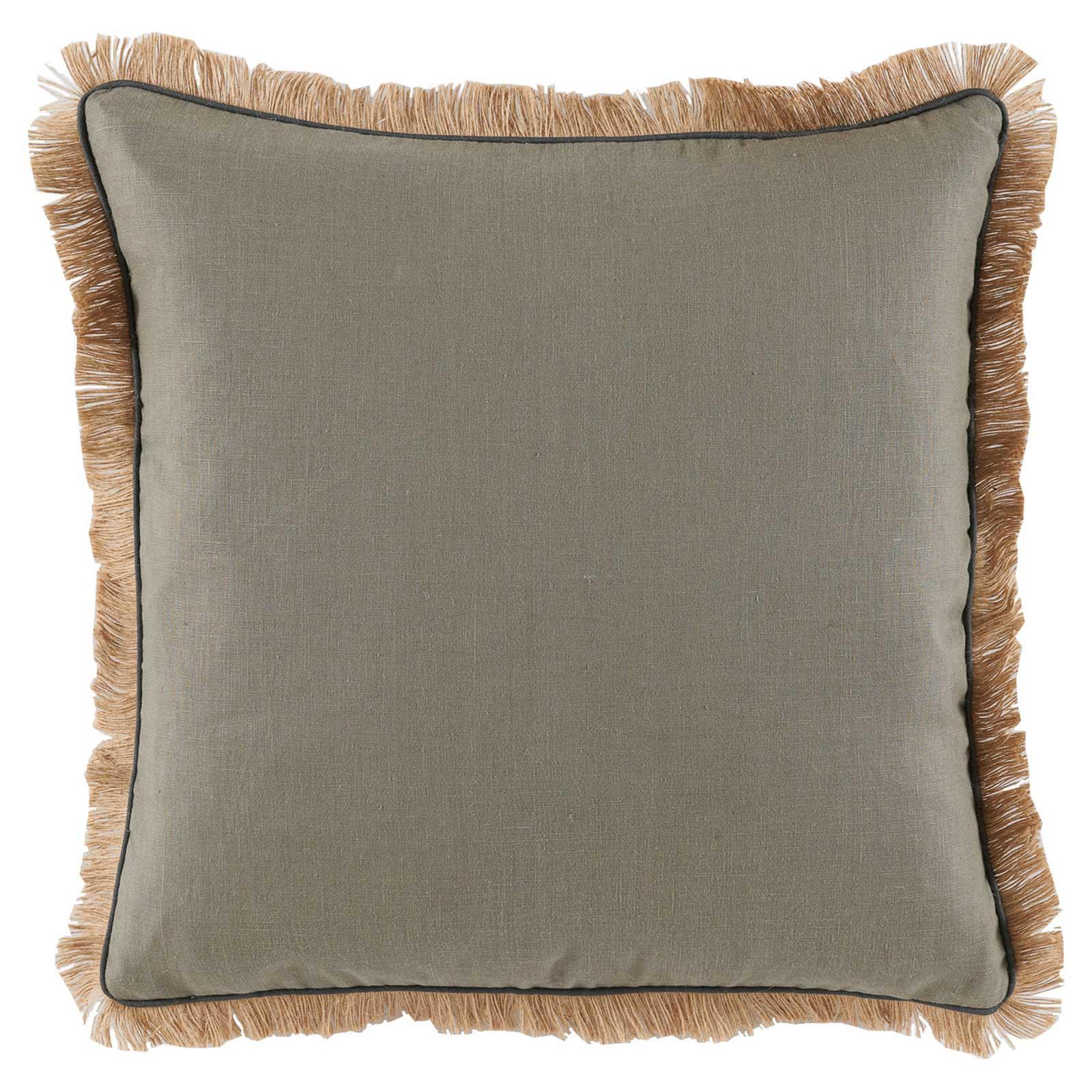 Mamie Modern Pipe Fringe Grey Linen Pillow - 24x24