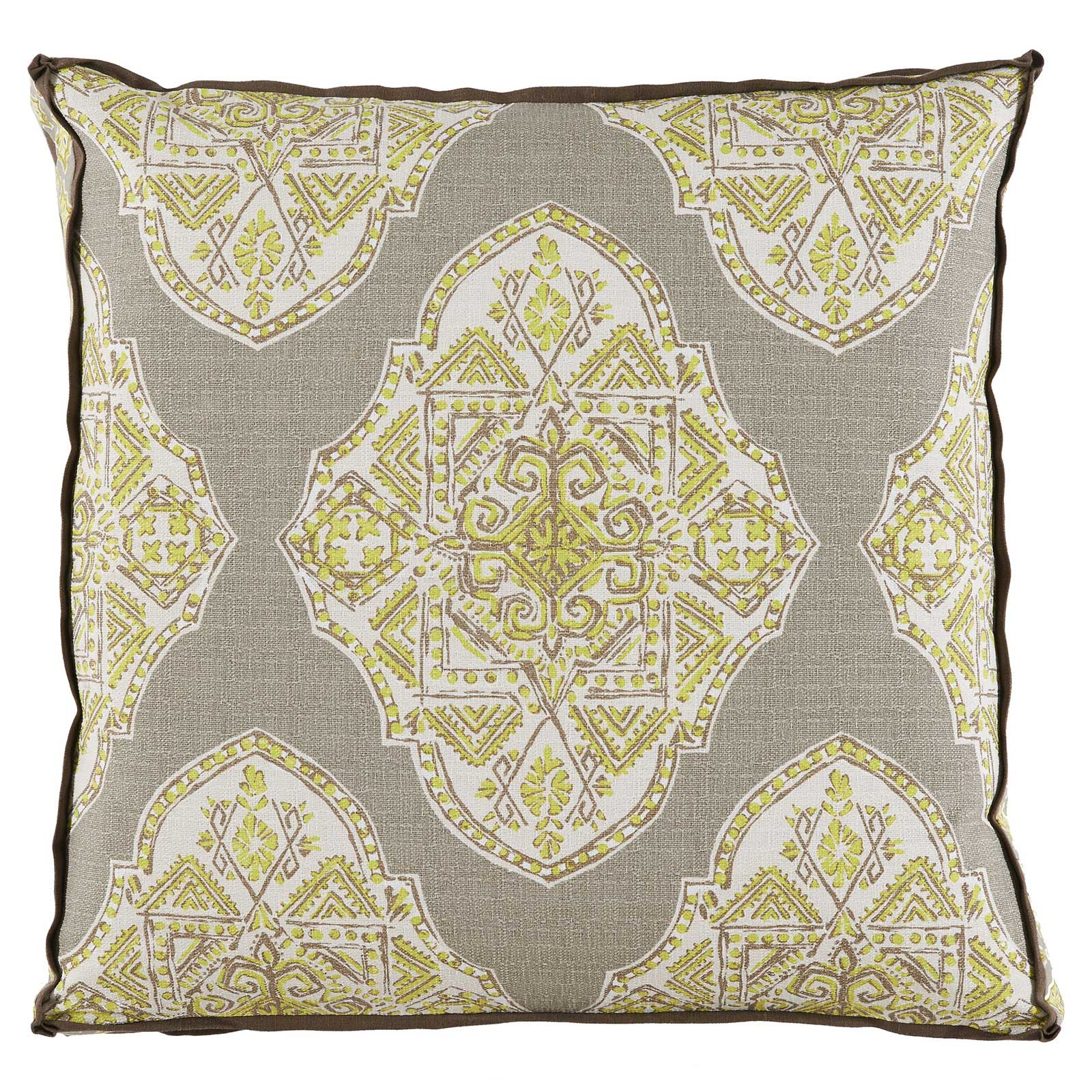 Biza Global Bazaar Medallion Citrus Beige Pillow - 24x24