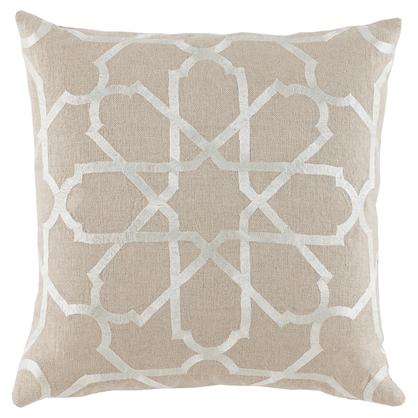 Emmet Modern Embroidered Ivory Tile Beige Pillow - 20x20