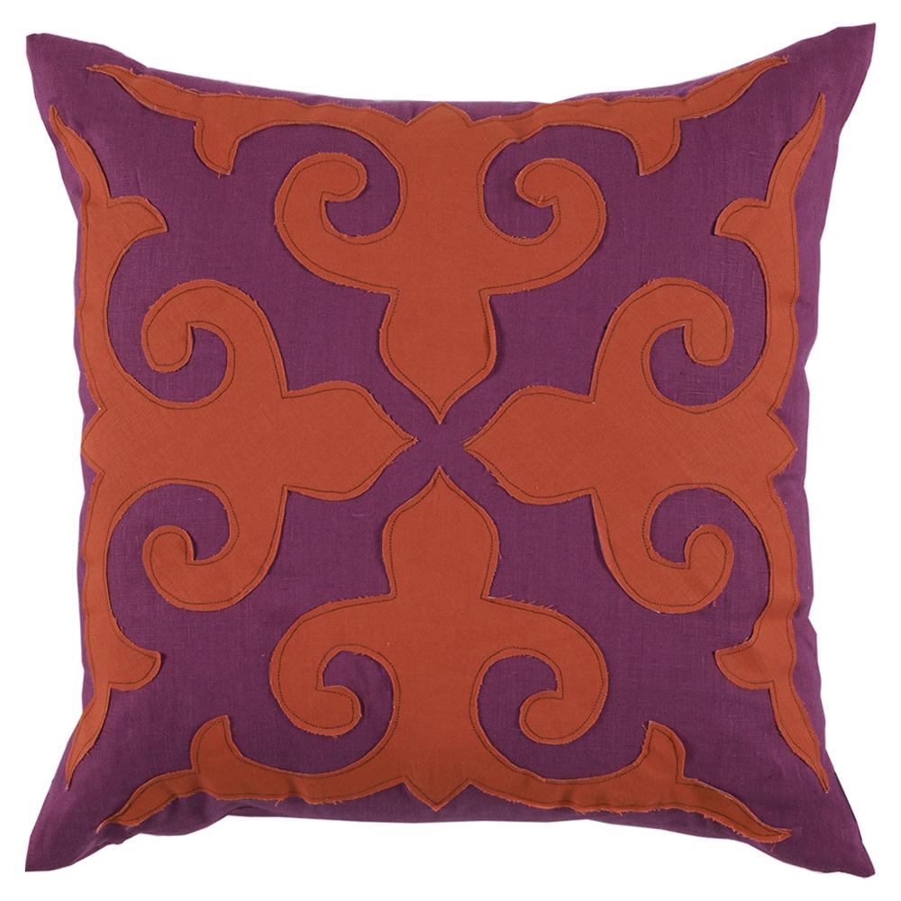 Cammie Modern Fleur de Lis Berry Mandarin Linen Pillow -22x22