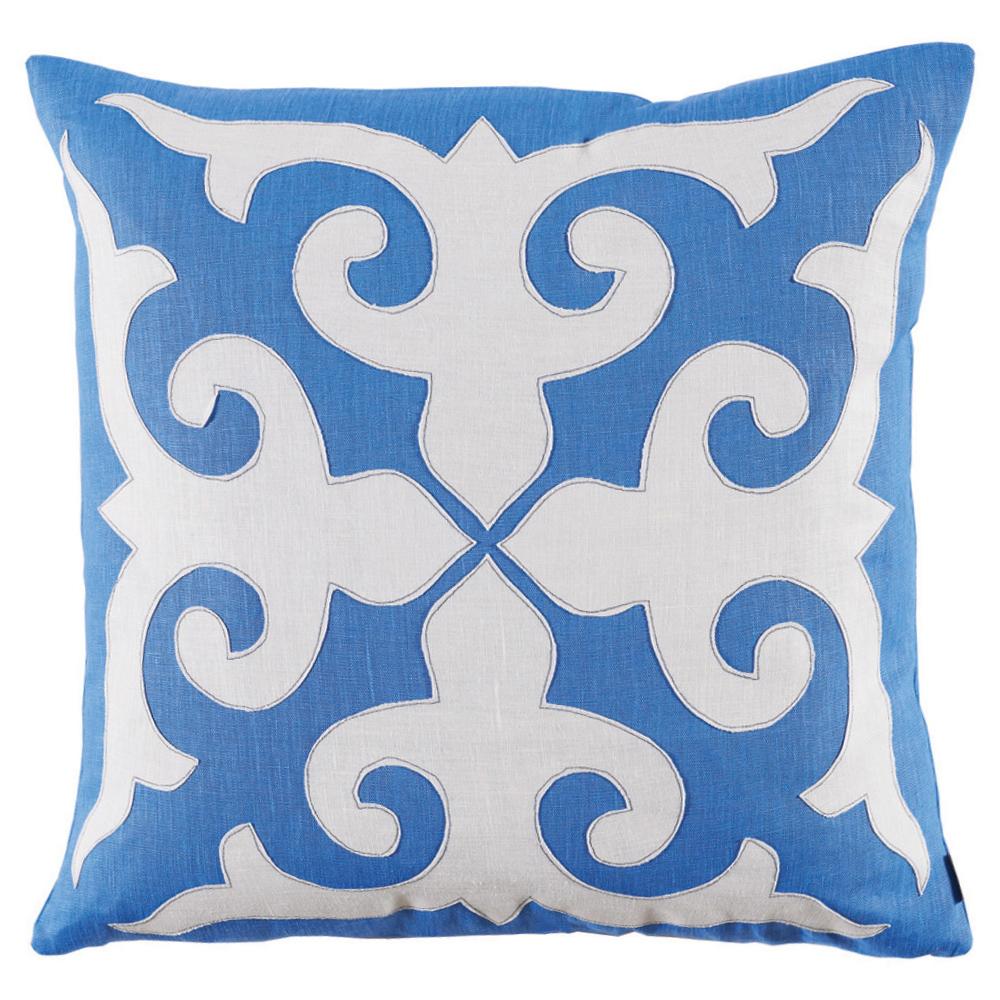 Cammie Modern Fleur de Lis Bright Blue Linen Pillow -22x22