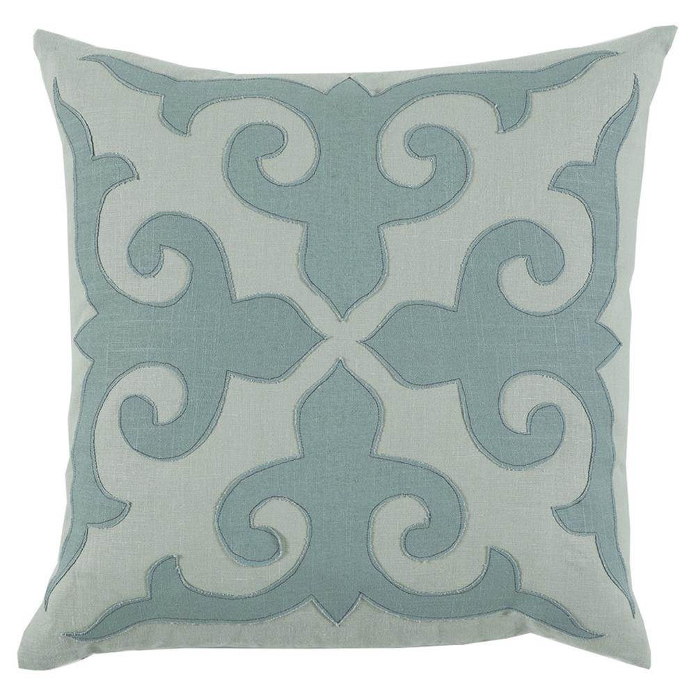 Cammie Modern Fleur de Lis Seafoam Linen Pillow -22x22