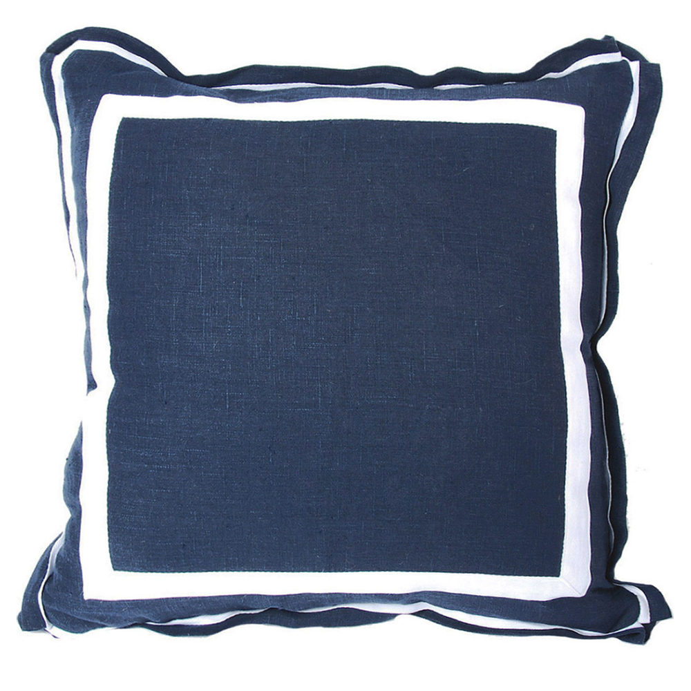Donnie Coastal Modern White Twill Navy Linen Pillow - 20x20