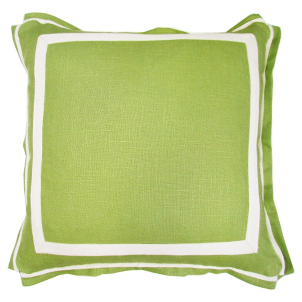 Donnie Coastal Modern Twill Lime Green Linen Pillow - 20x20